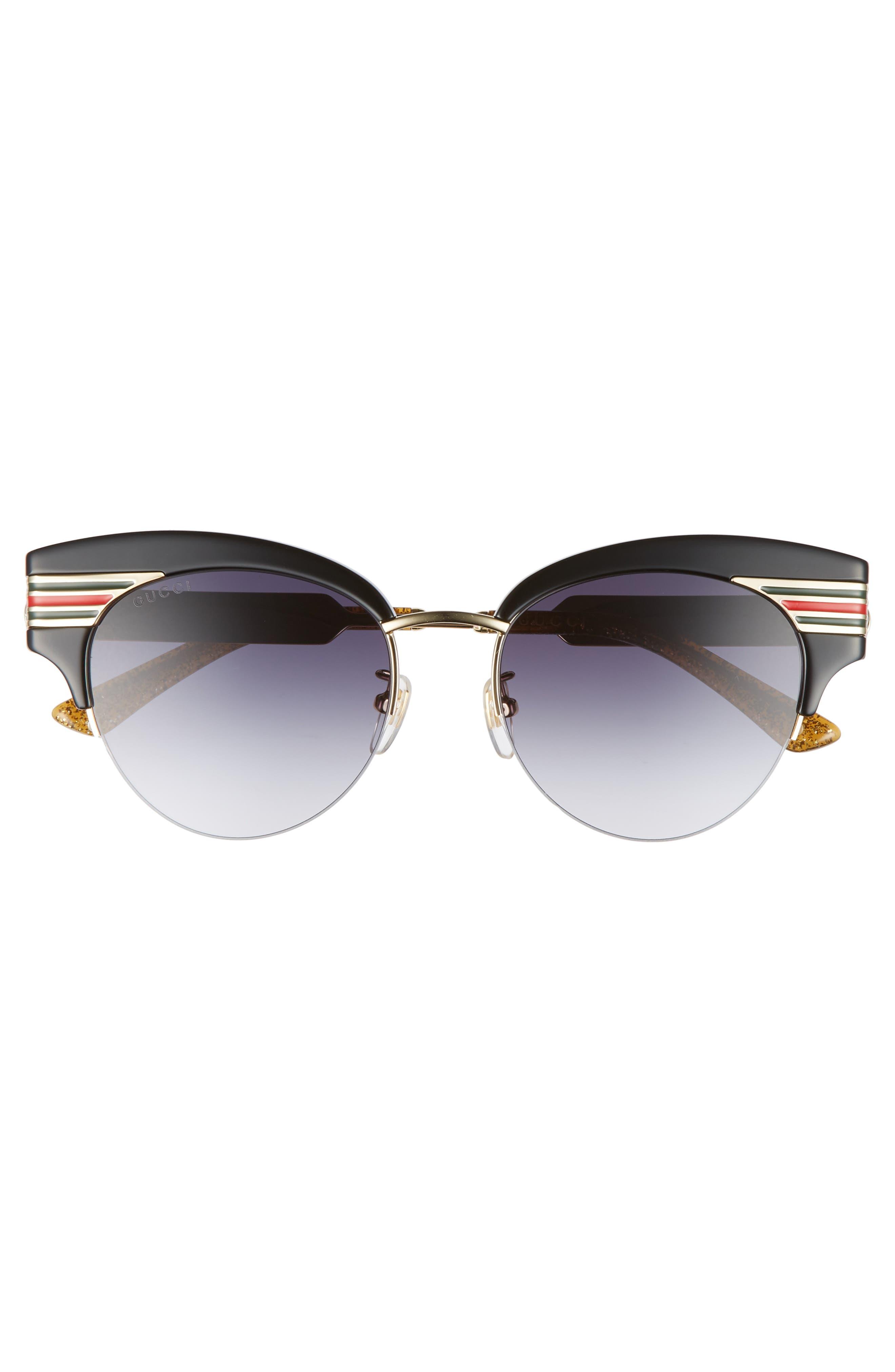 GUCCI, 53mm Cat Eye Sunglasses, Alternate thumbnail 3, color, GOLD