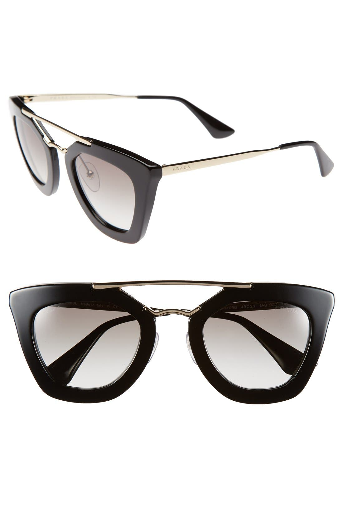 PRADA, 49mm Retro Sunglasses, Main thumbnail 1, color, 001