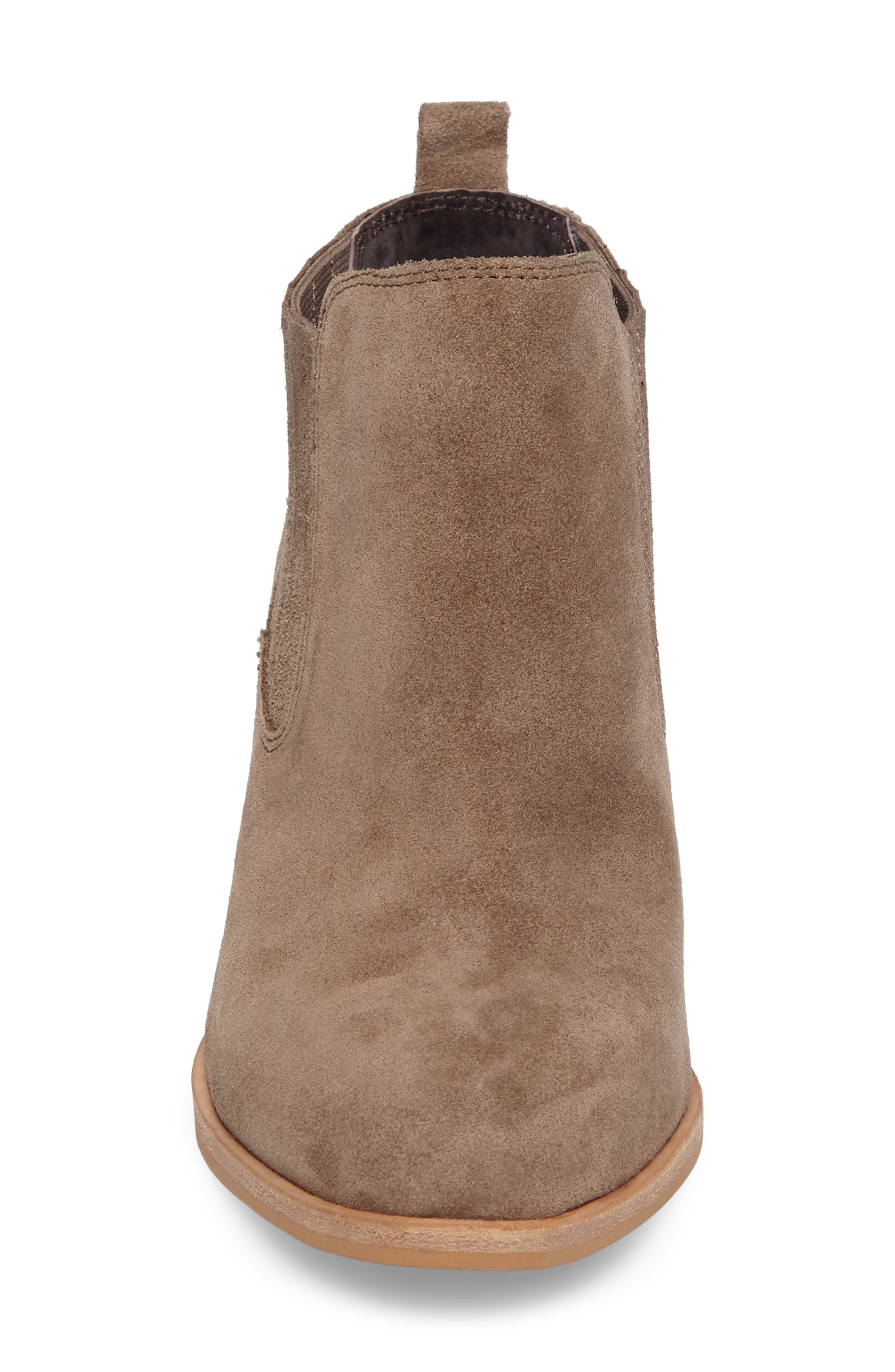 ISOLÁ, Olicia Gored Bootie, Alternate thumbnail 4, color, MARMOTTA LIGHT GREY SUEDE