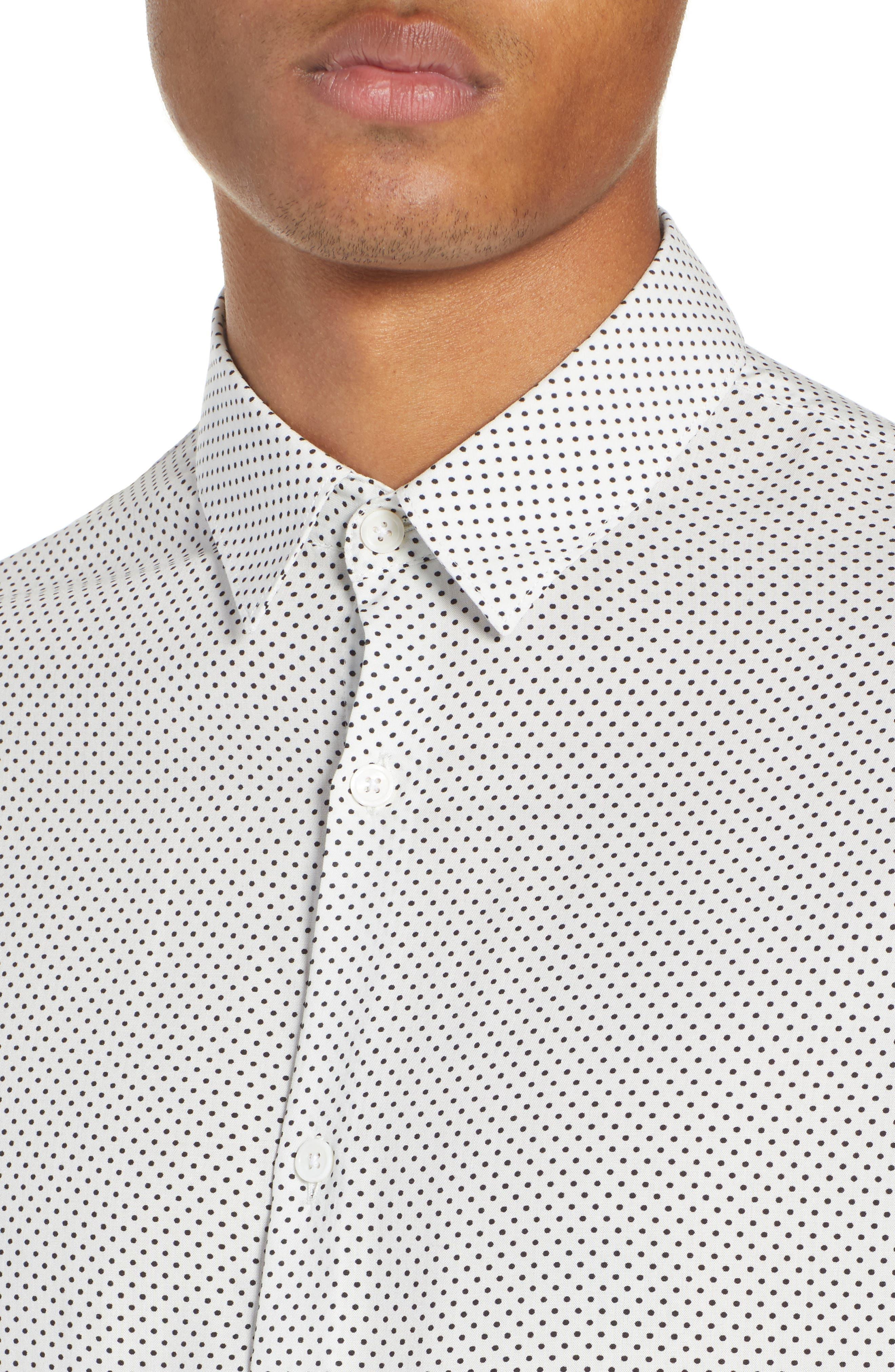 THE KOOPLES, Dot Print Sport Shirt, Alternate thumbnail 2, color, BEIGE-BLACK