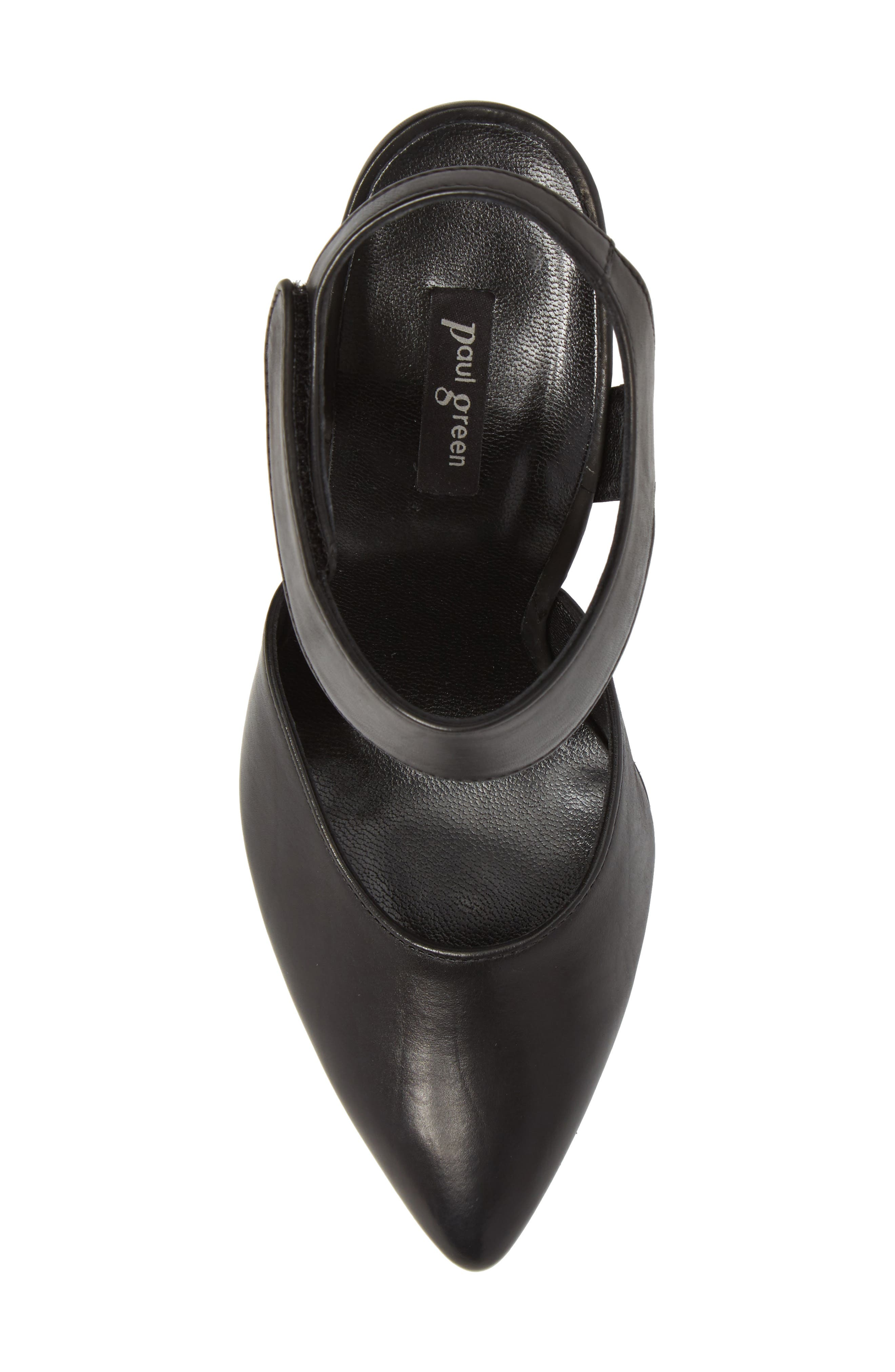 PAUL GREEN, Nicolette Pointy Toe Pump, Alternate thumbnail 5, color, BLACK LEATHER