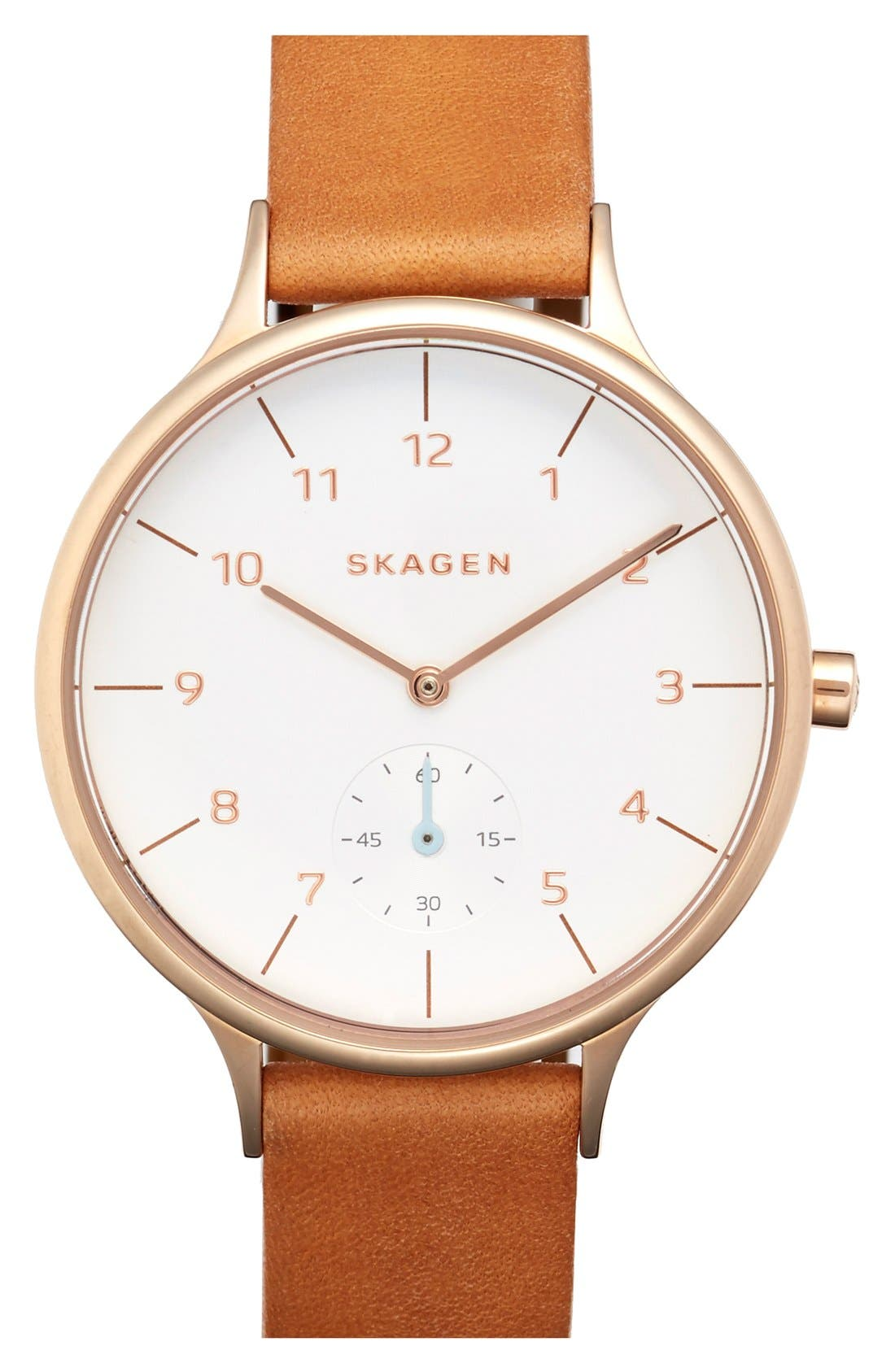 SKAGEN, 'Anita' Leather Strap Watch, 34mm, Main thumbnail 1, color, BROWN/ ROSE GOLD/ WHITE
