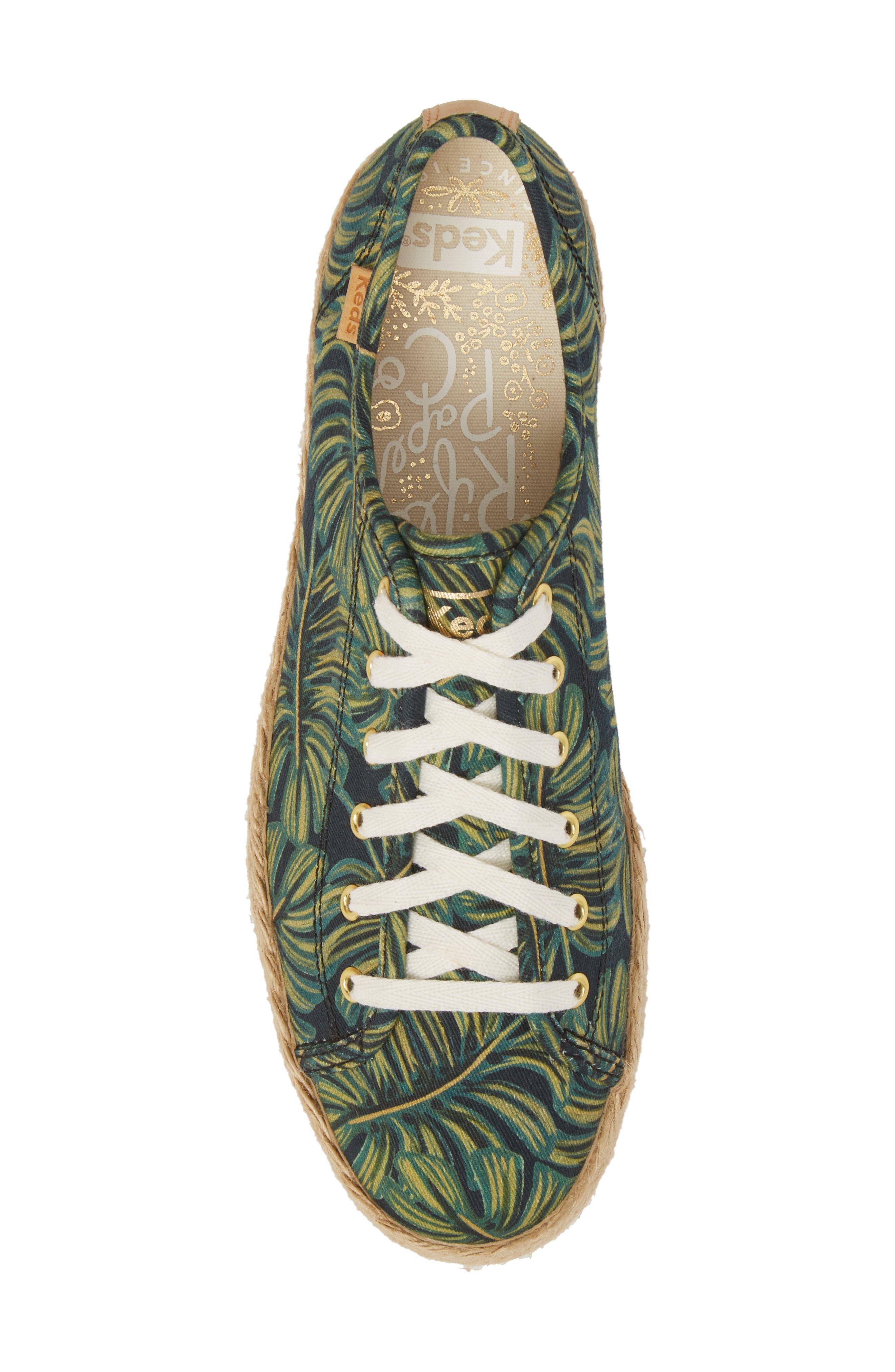 KEDS<SUP>®</SUP>, x Rifle Paper Co. Triple Kick Palms Platform Sneaker, Alternate thumbnail 5, color, 001