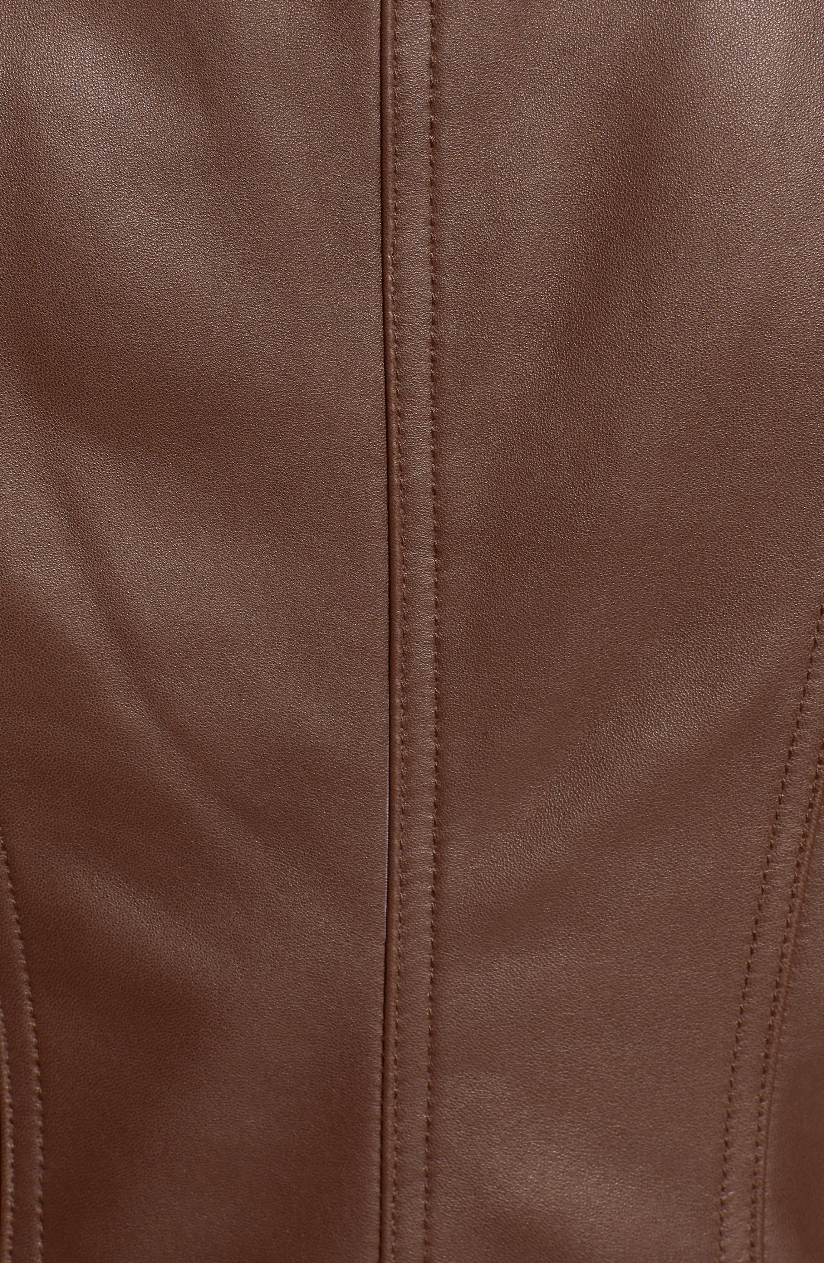 BADGLEY MISCHKA COLLECTION, Badgley Mischka Gia Leather Biker Jacket, Alternate thumbnail 7, color, 201