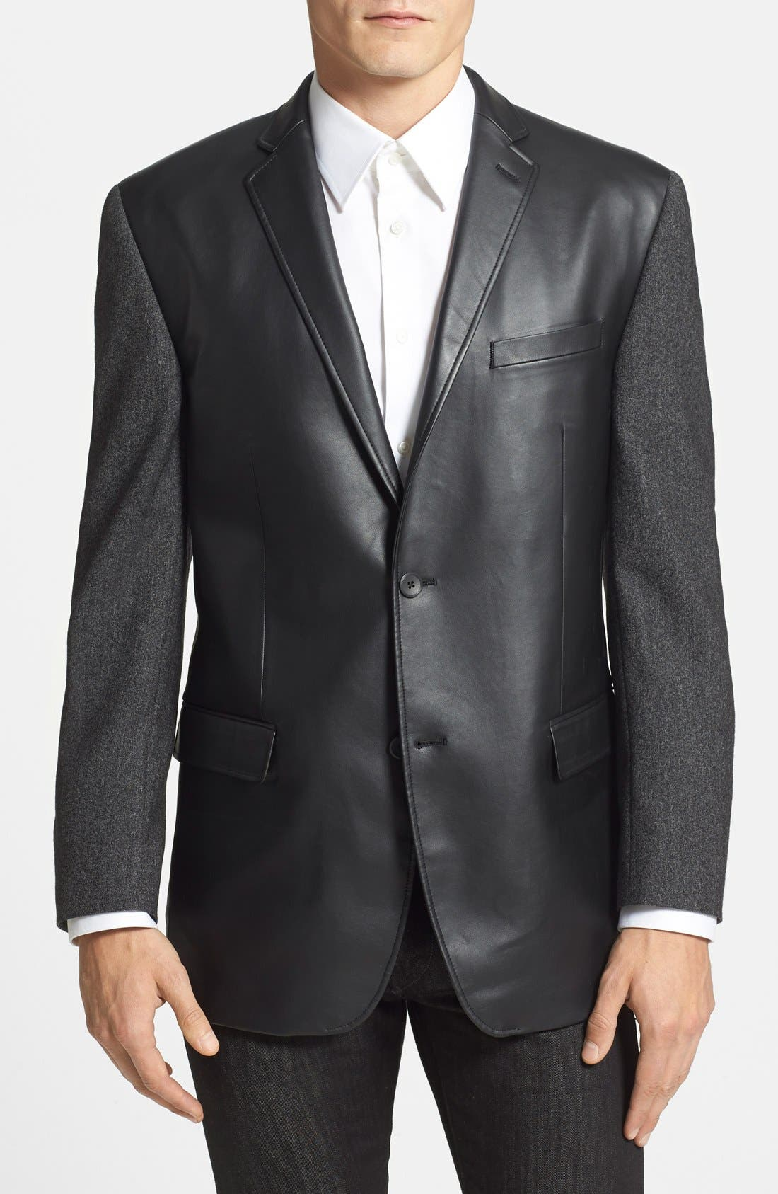 MARC NEW YORK, by Andrew Marc Classic Fit Faux Leather & Wool Sport Coat, Main thumbnail 1, color, 015