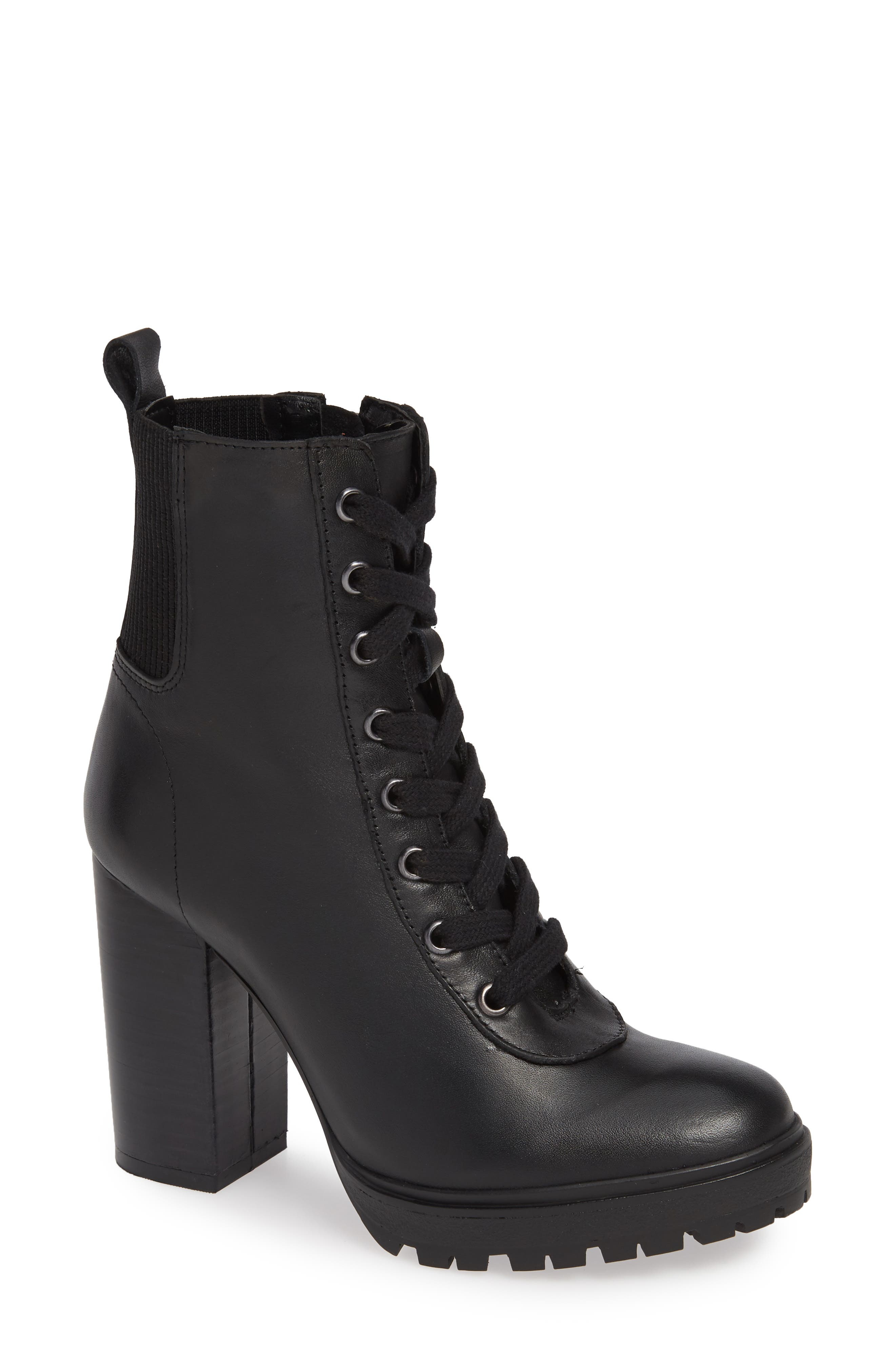 STEVE MADDEN, Latch Boot, Main thumbnail 1, color, BLACK LEATHER