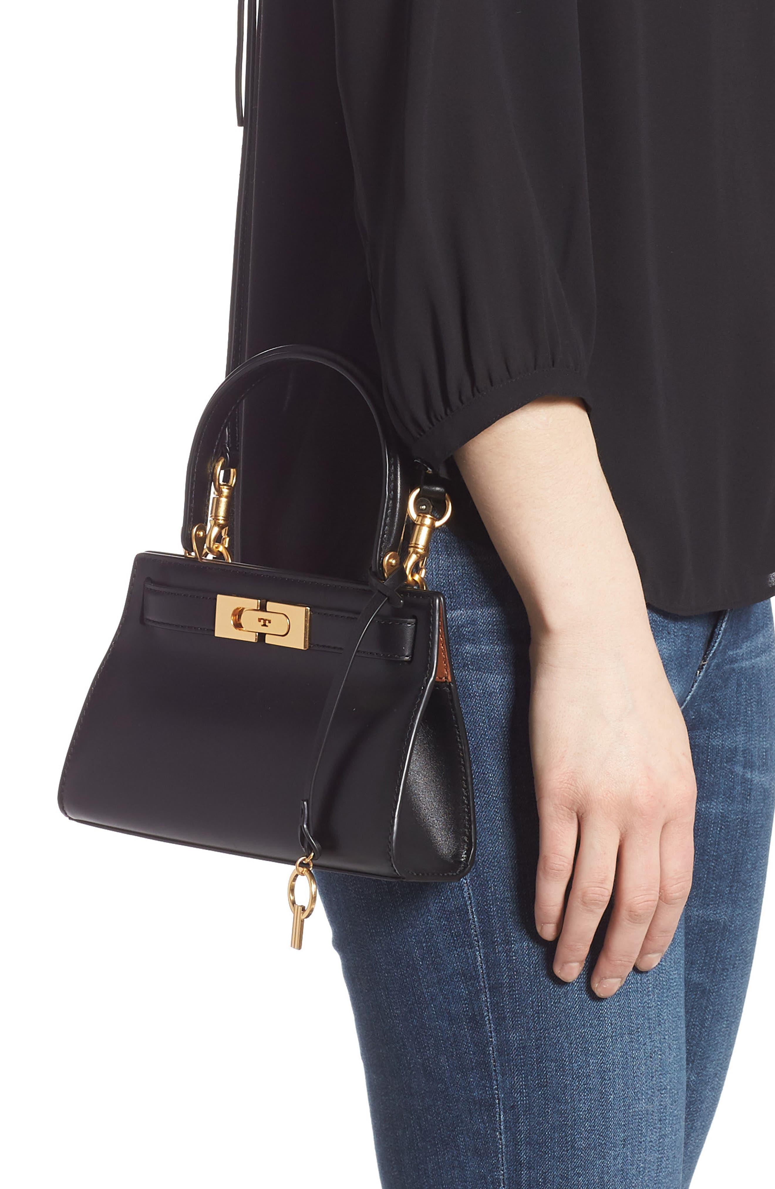 TORY BURCH, Mini Lee Radziwill Leather Bag, Alternate thumbnail 2, color, BLACK