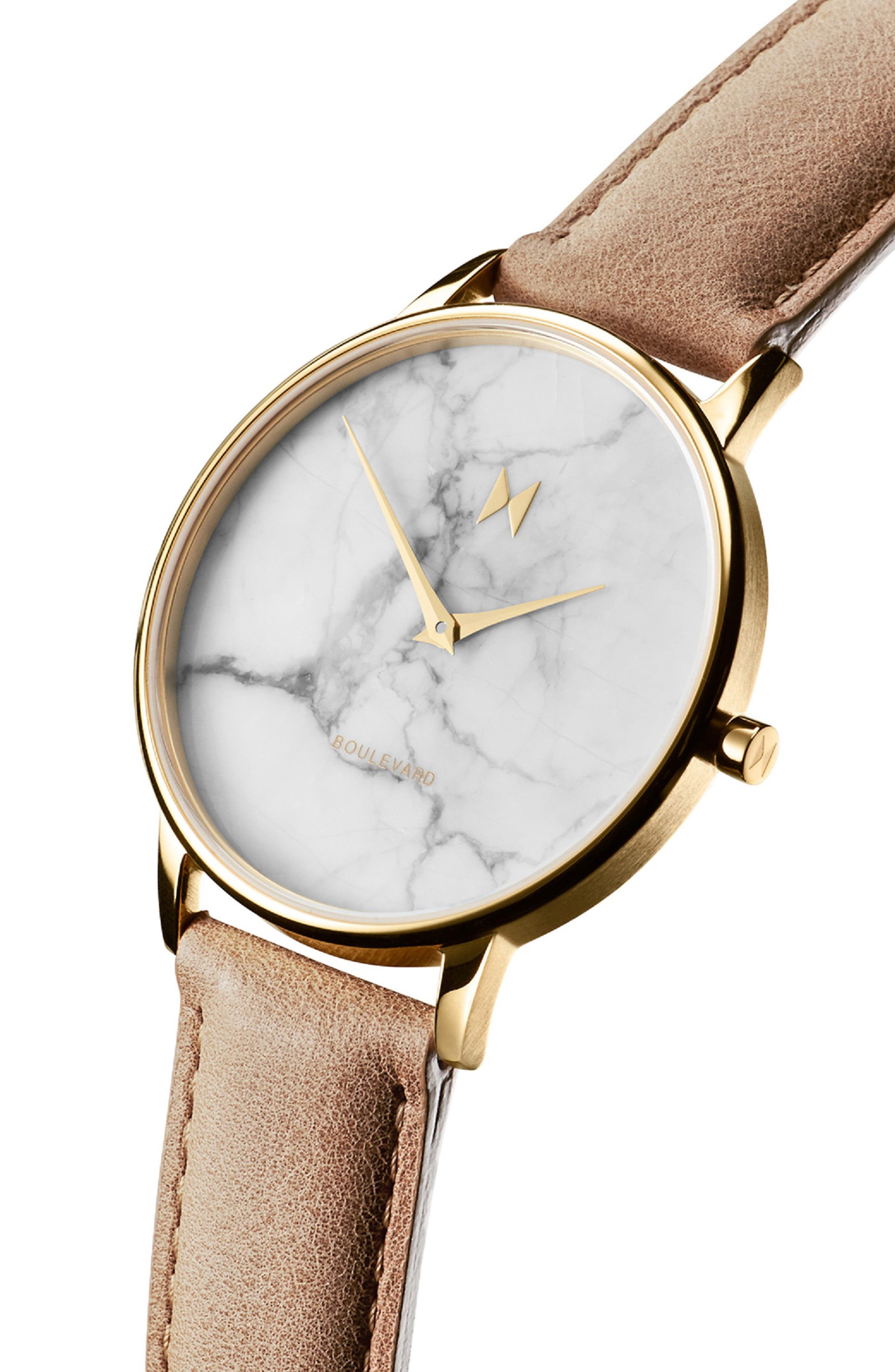 MVMT, Boulevard Leather Strap Watch, 38mm, Alternate thumbnail 4, color, CARAMEL/ WHITE MARBLE/ GOLD