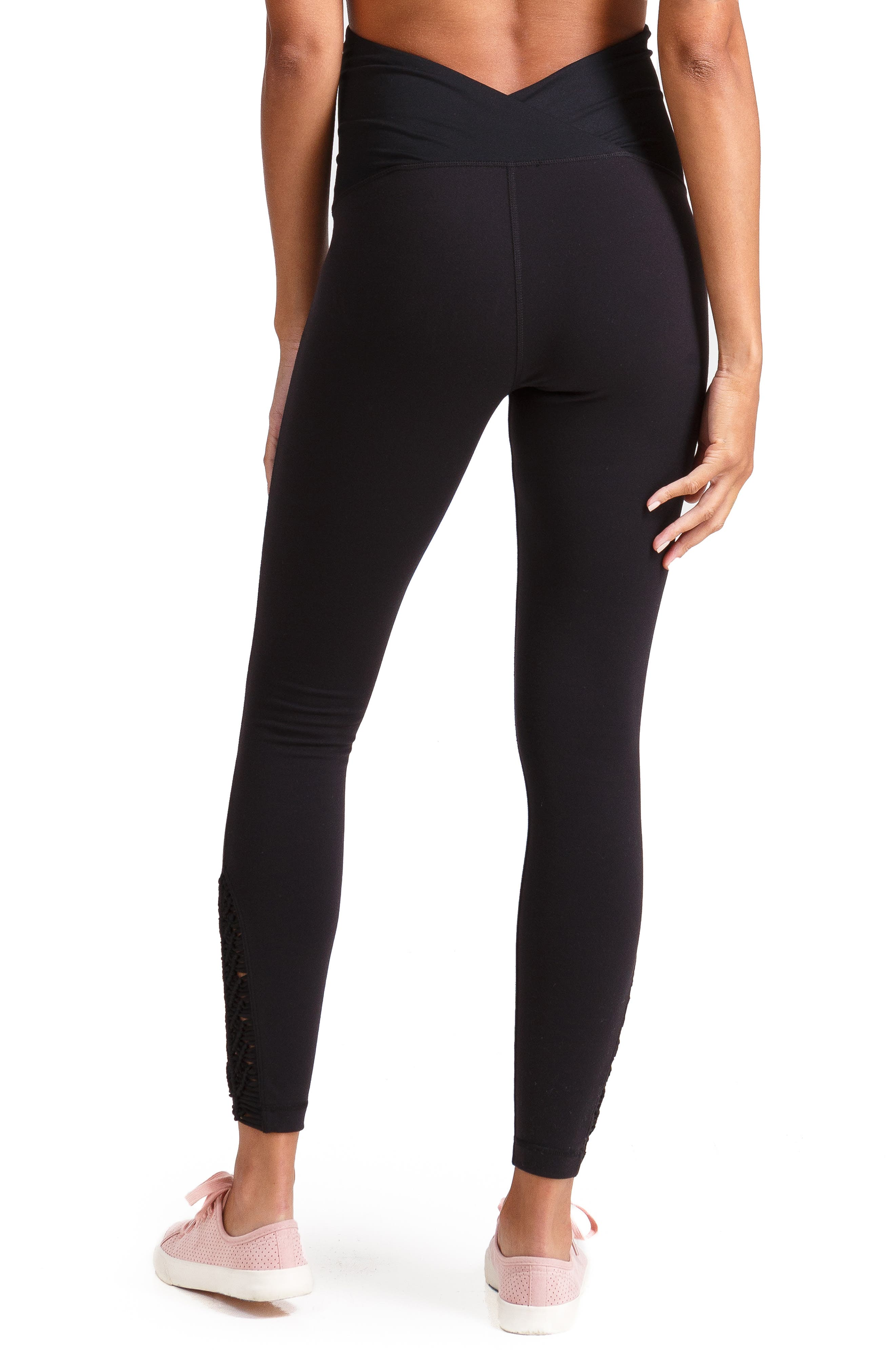 INGRID & ISABEL<SUP>®</SUP>, Active Maternity Leggings with Macramé Detail, Alternate thumbnail 2, color, JET BLACK