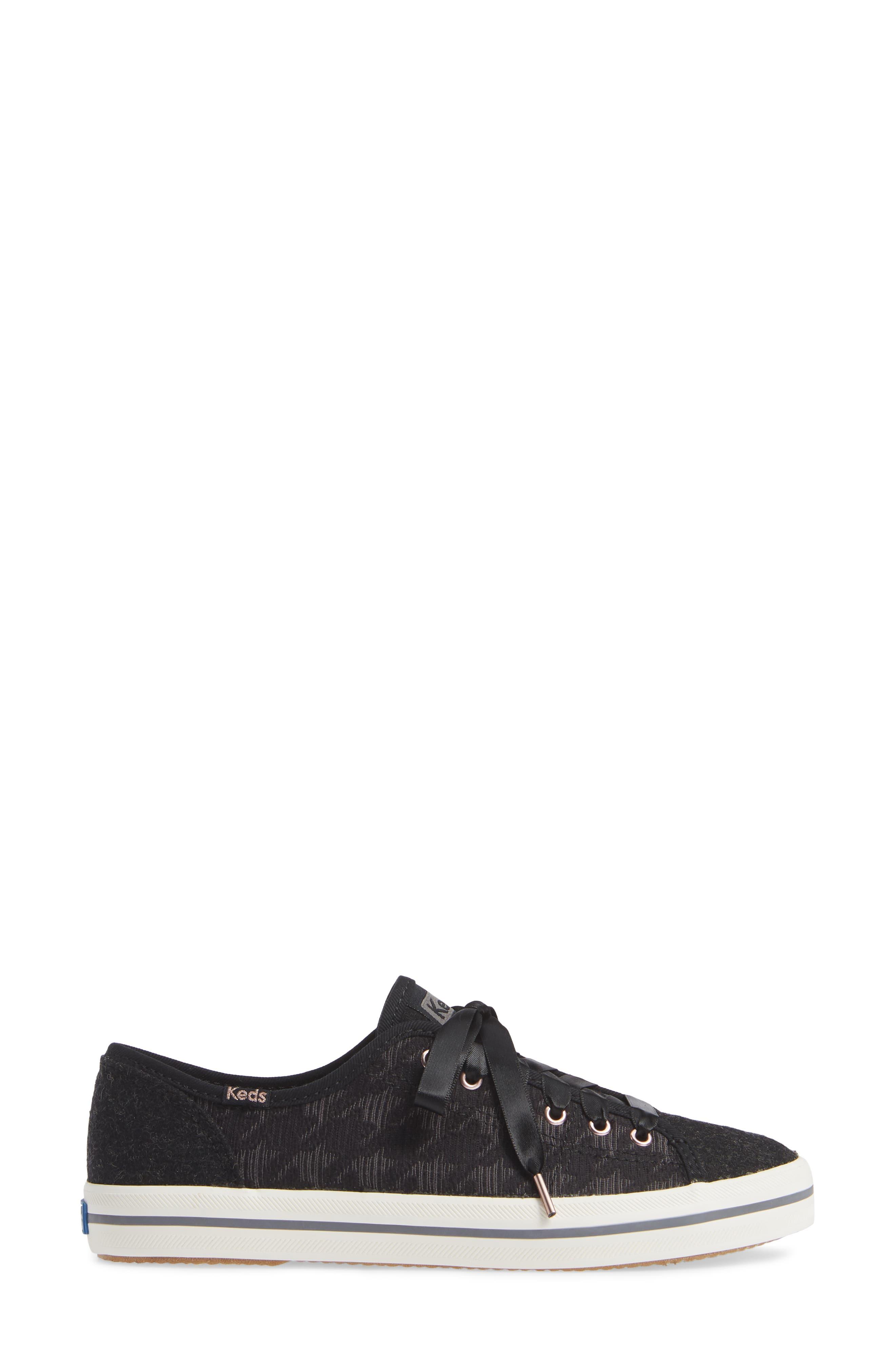 KEDS<SUP>®</SUP>, Kickstart Sneaker, Alternate thumbnail 3, color, BLACK HOUNDSTOOTH