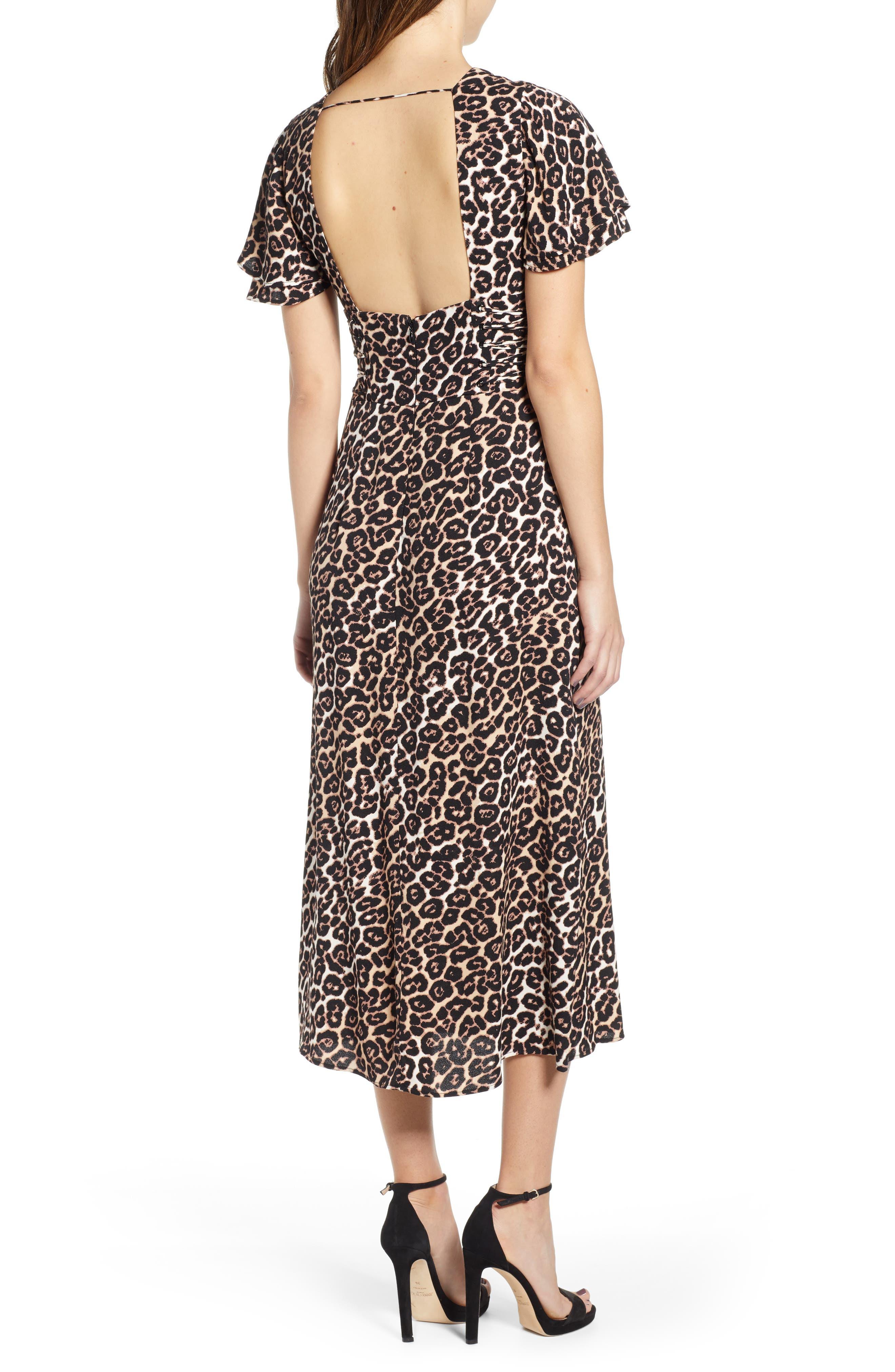 AFRM, Carmen Corset Detail Print Dress, Alternate thumbnail 2, color, LEOPARD