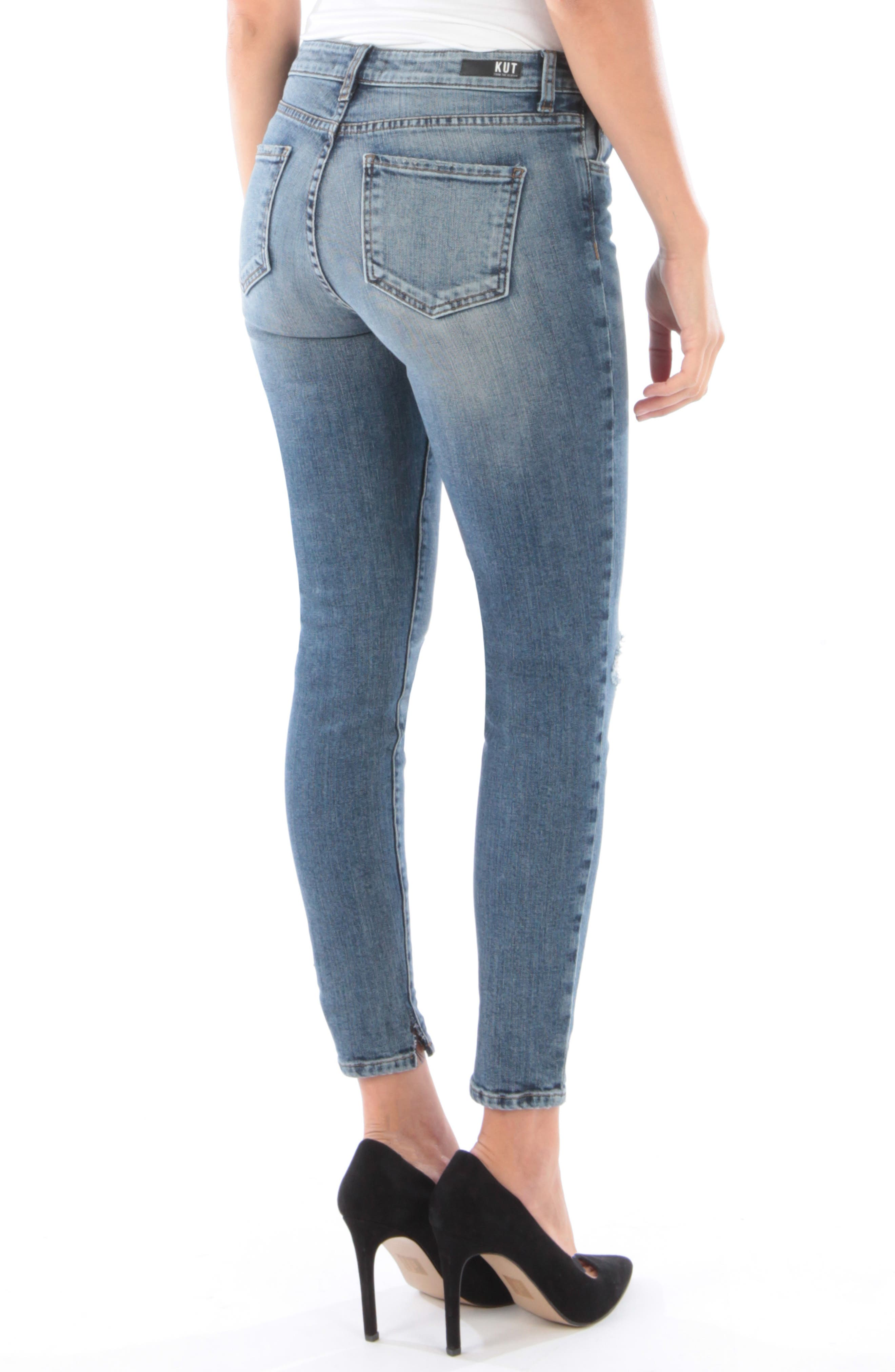 KUT FROM THE KLOTH, Donna Ripped High Waist Ankle Skinny Jeans, Alternate thumbnail 2, color, 402