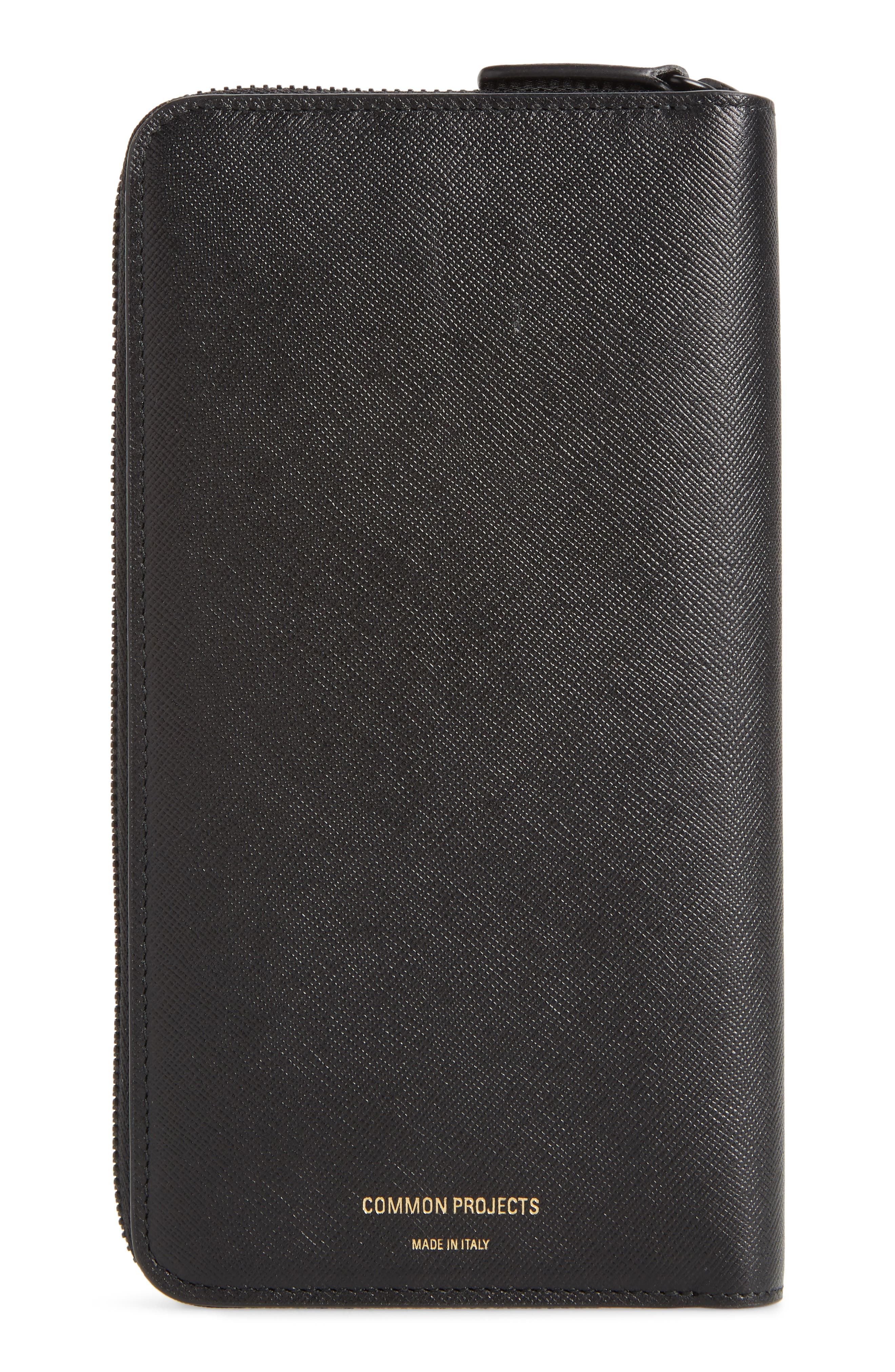 COMMON PROJECTS, Continental Saffiano Leather Zip Wallet, Main thumbnail 1, color, BLACK