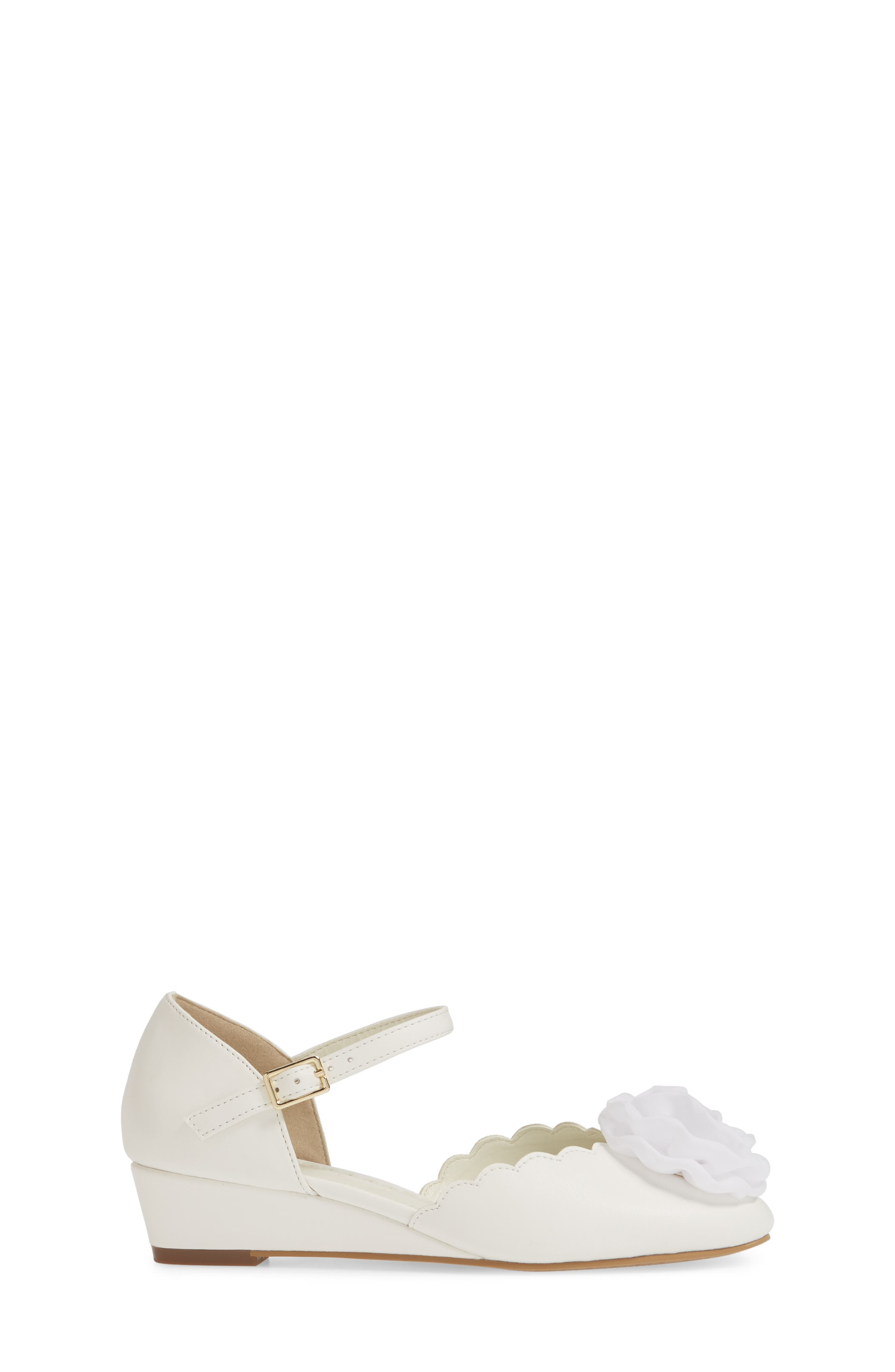 1901, Low Wedge Pump, Alternate thumbnail 3, color, WHITE FAUX LEATHER