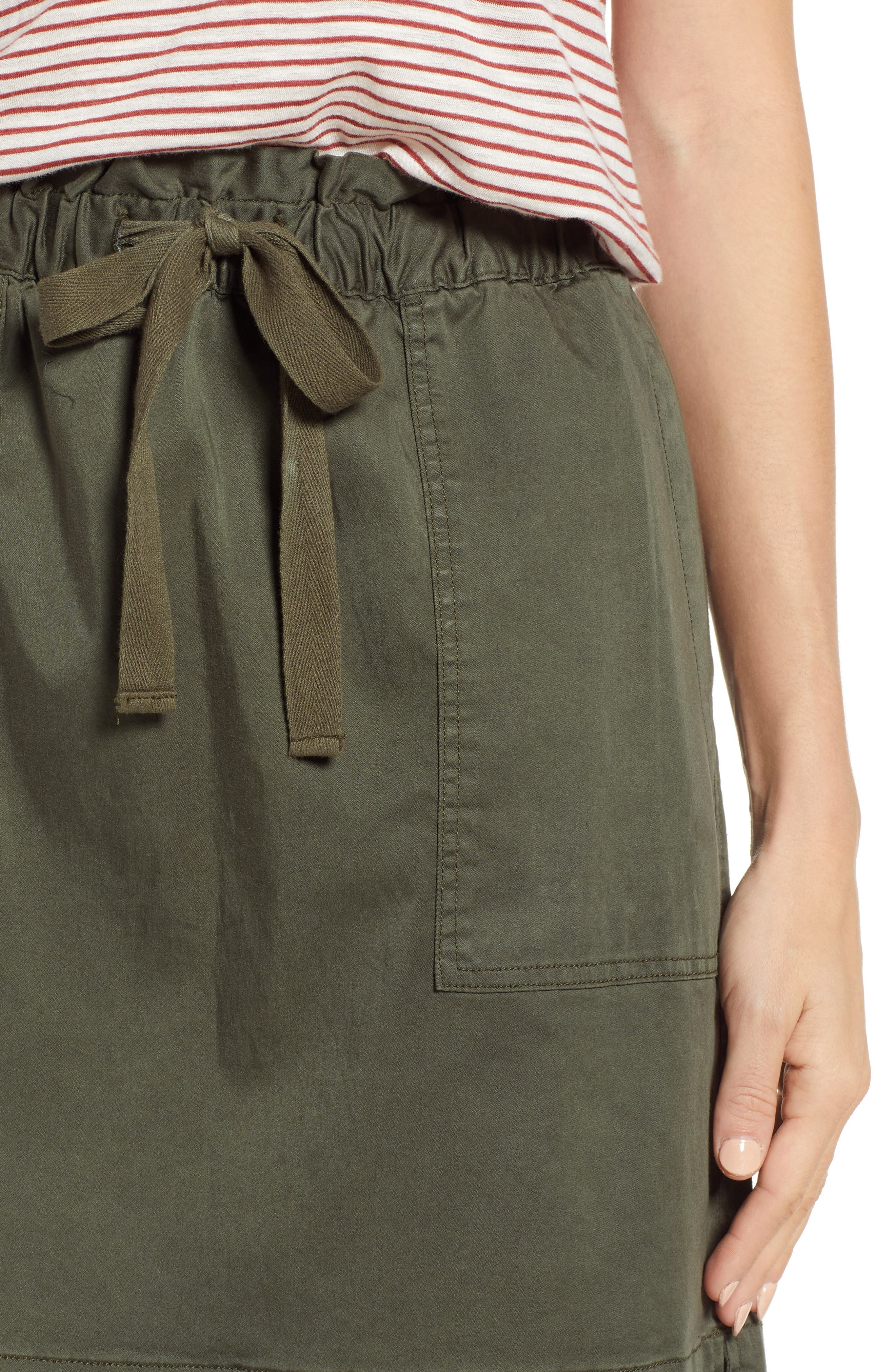 CASLON<SUP>®</SUP>, Paperbag Waist Skirt, Alternate thumbnail 4, color, GREEN BEETLE
