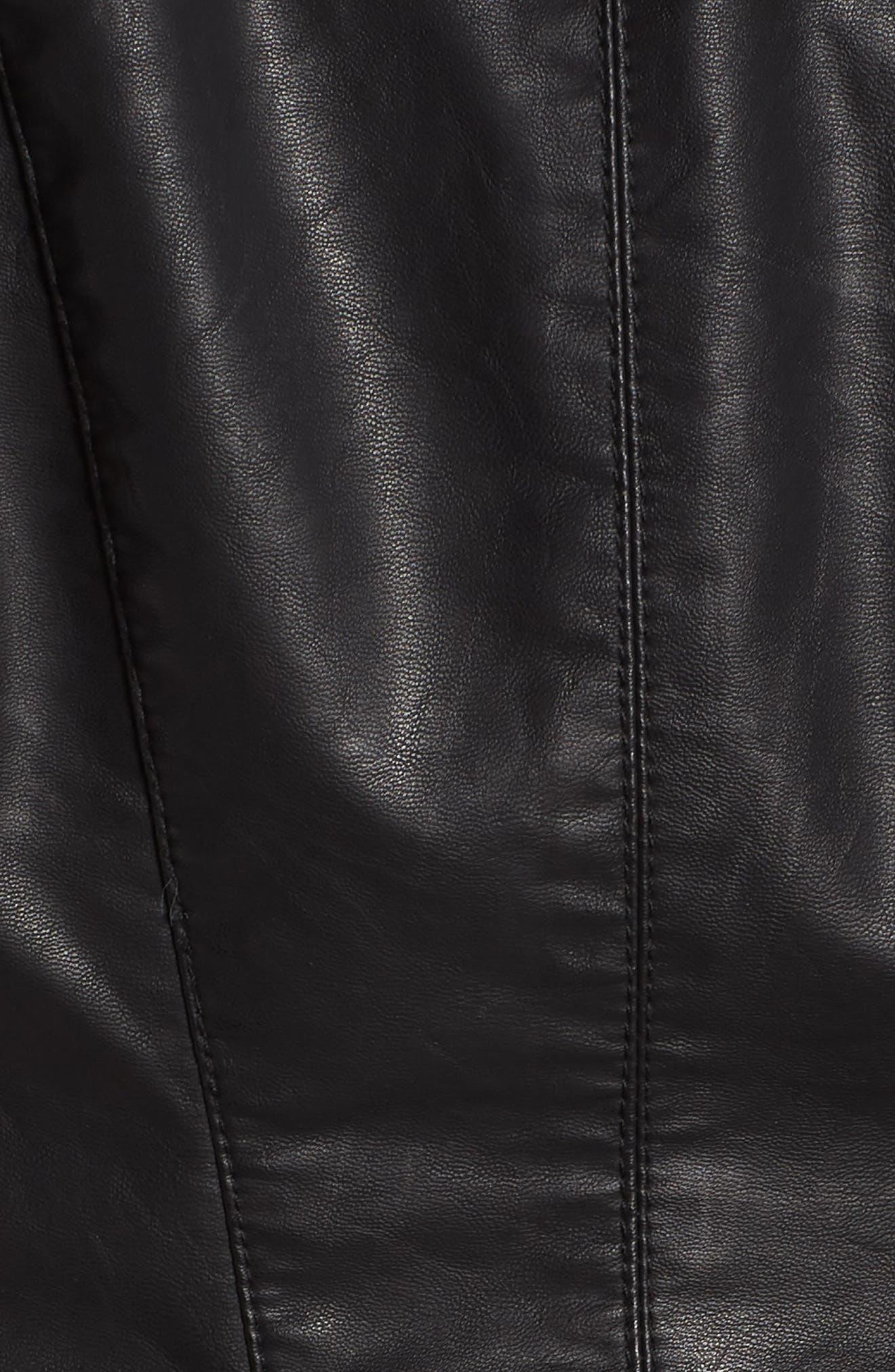 BLANKNYC, Faux Leather Moto Jacket, Alternate thumbnail 8, color, BLACK