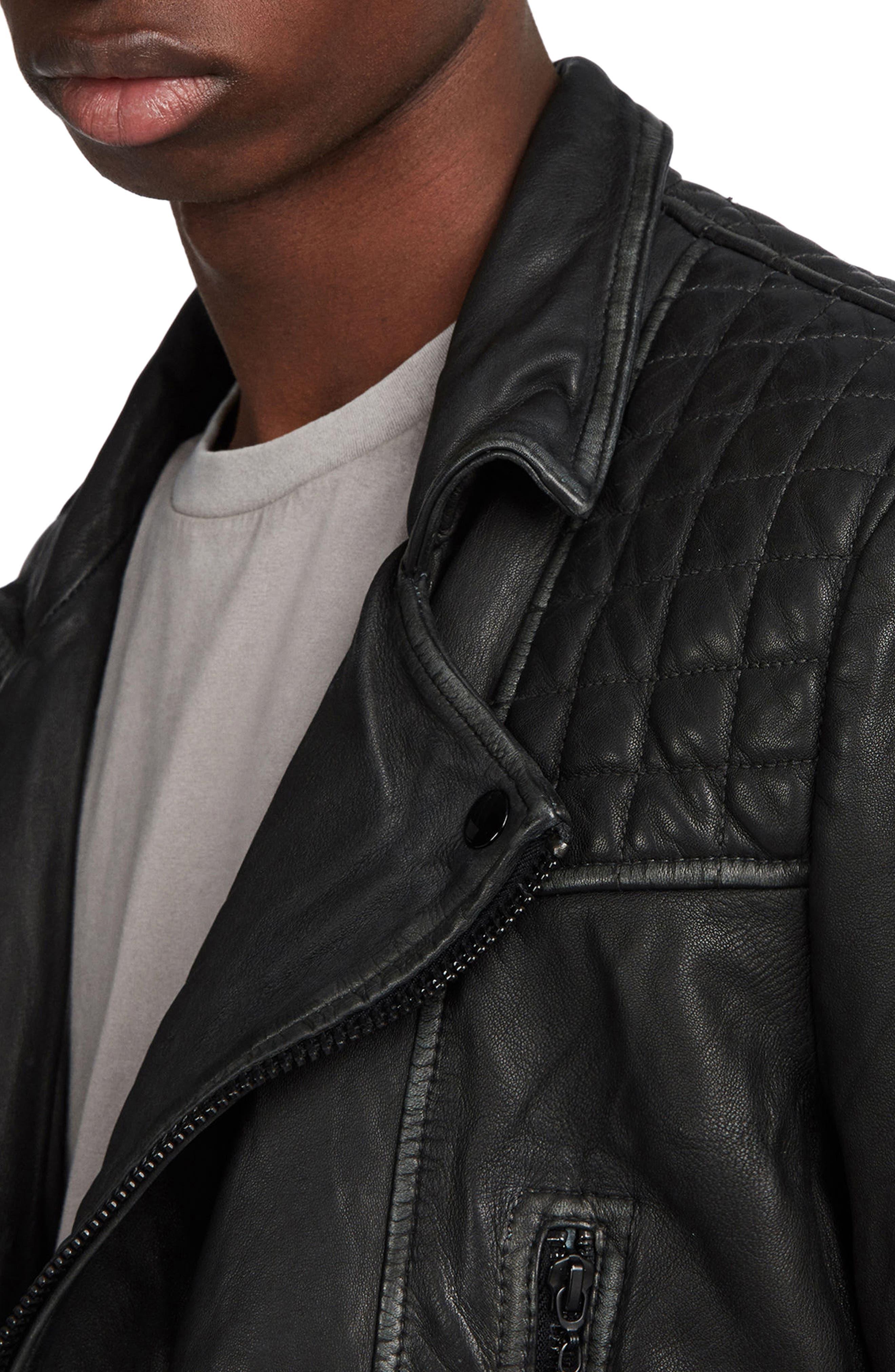 ALLSAINTS, Cargo Biker Slim Fit Leather Jacket, Alternate thumbnail 4, color, BLACK GREY