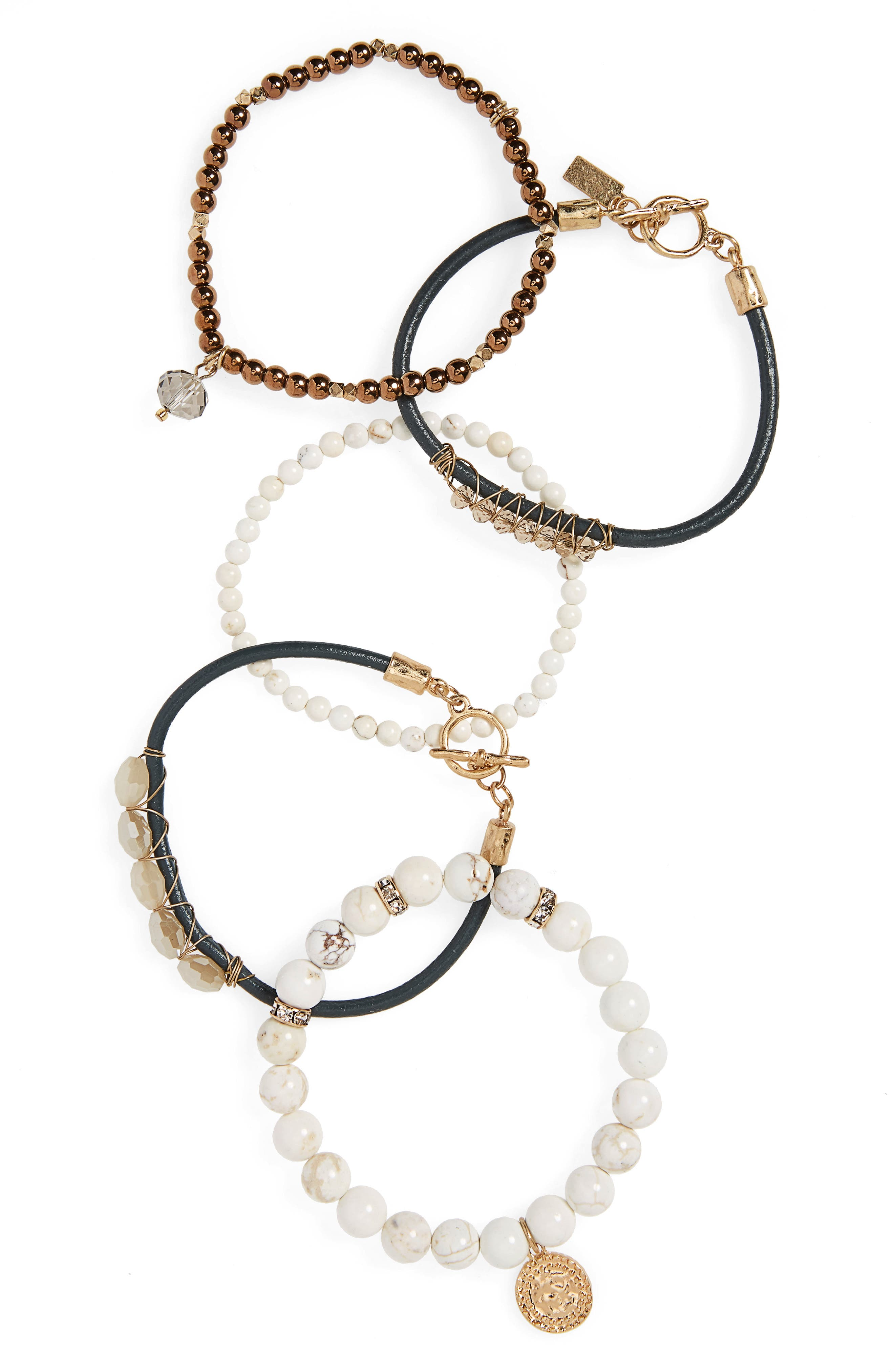 CANVAS JEWELRY, 5-Piece Semiprecious Stone Stacking Bracelet, Main thumbnail 1, color, 100