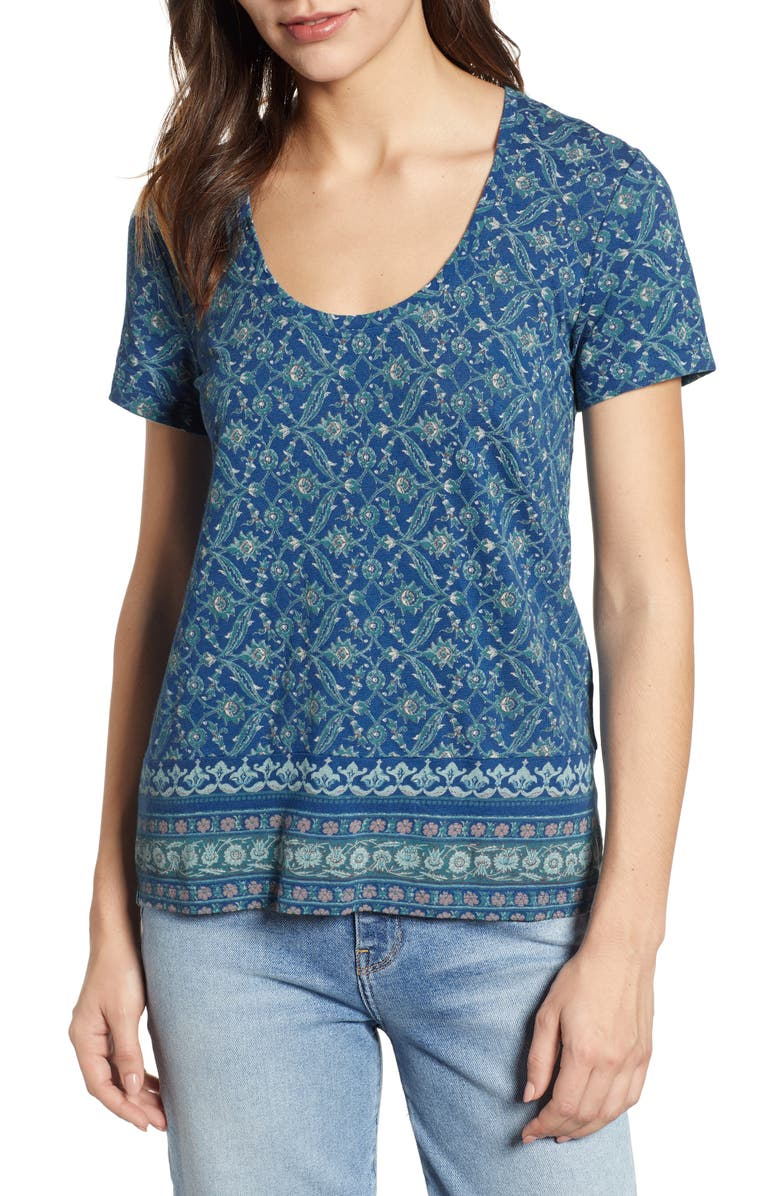Lucky Brand Cottons FLORAL PRINT BORDER TEE