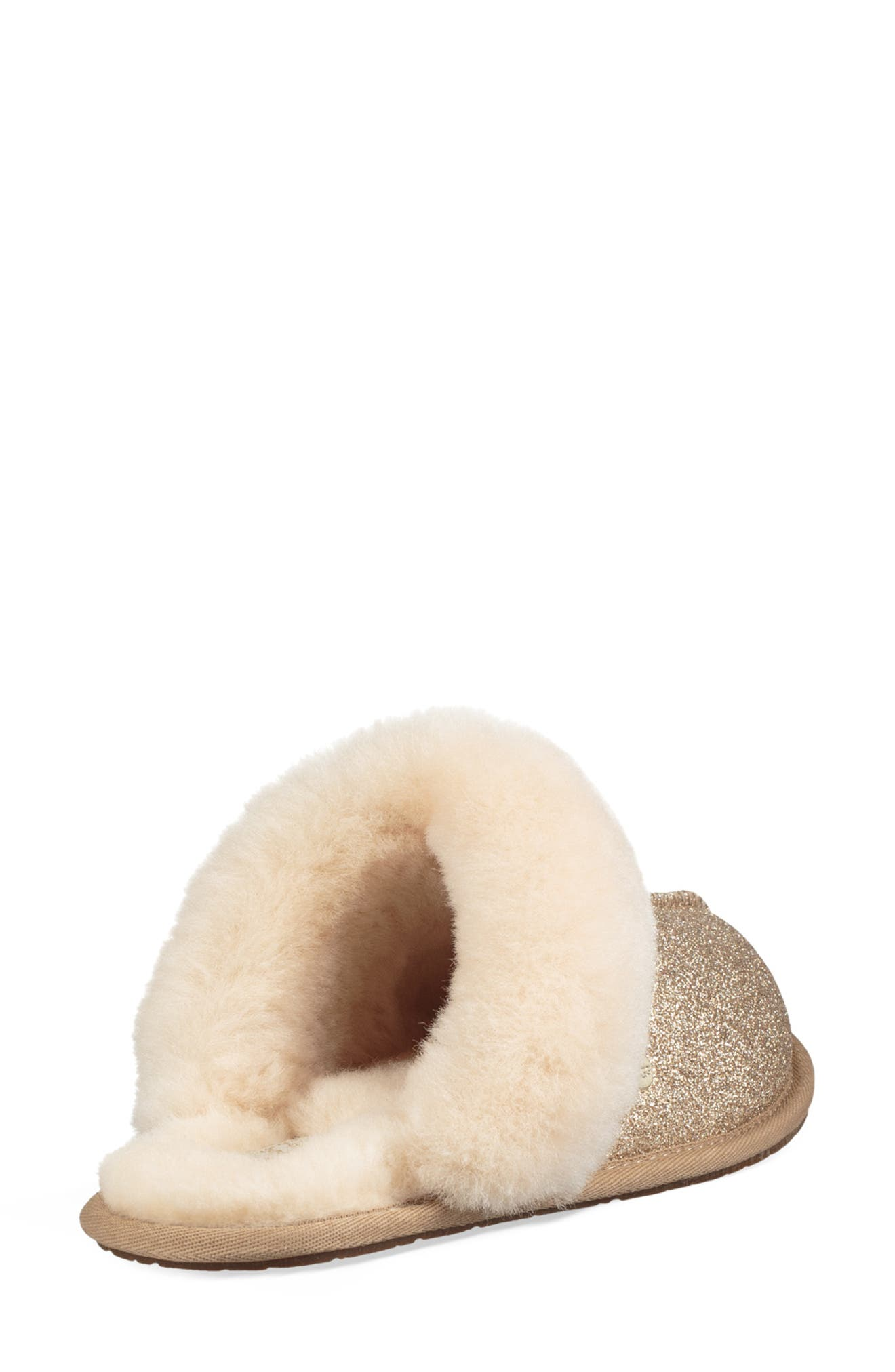 UGG<SUP>®</SUP>, Scuffette II Sparkle Genuine Shearling Slipper, Alternate thumbnail 2, color, GOLD