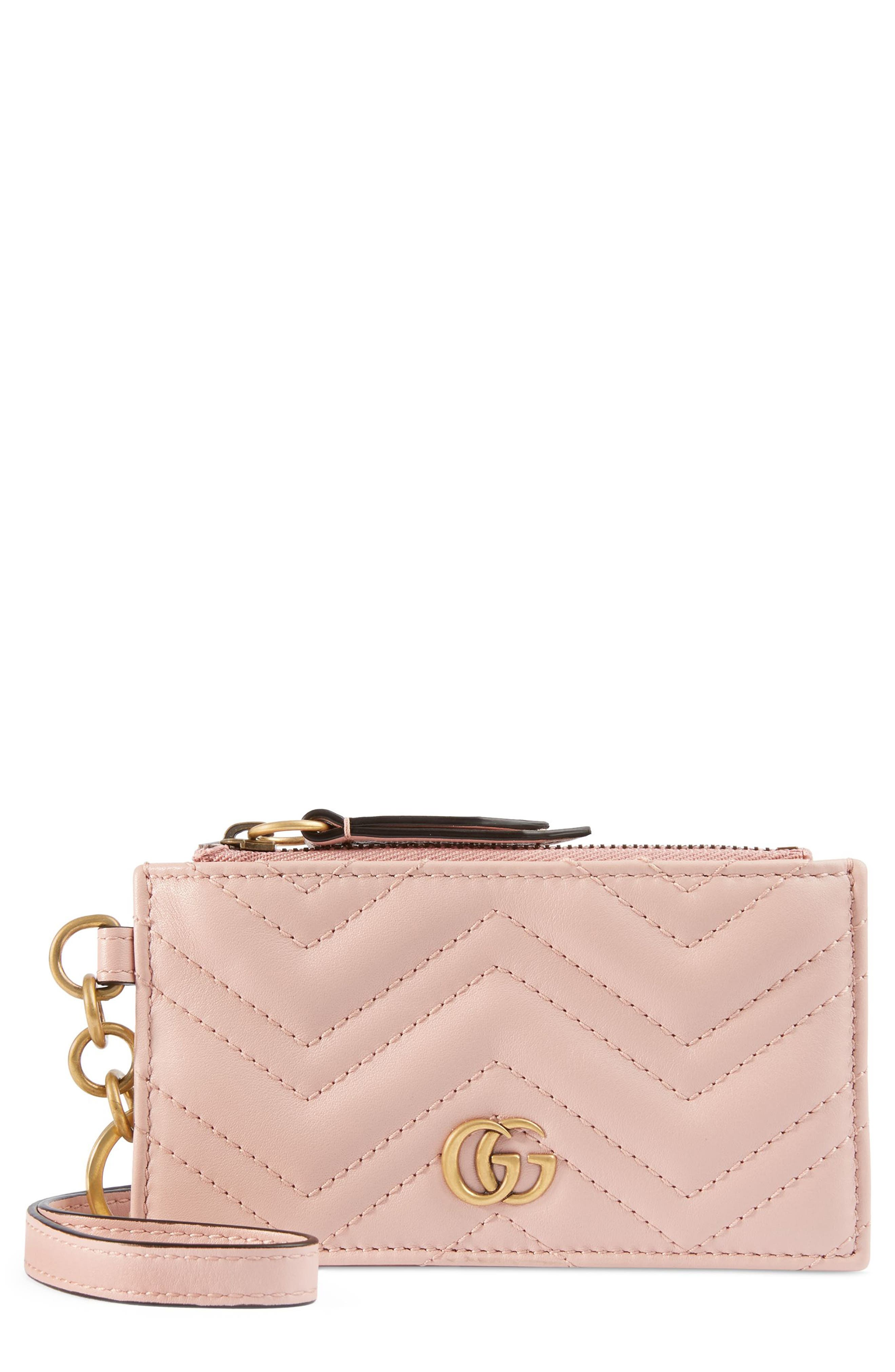 GUCCI, Marmont 2.0 Leather Card Case, Main thumbnail 1, color, PERFECT PINK