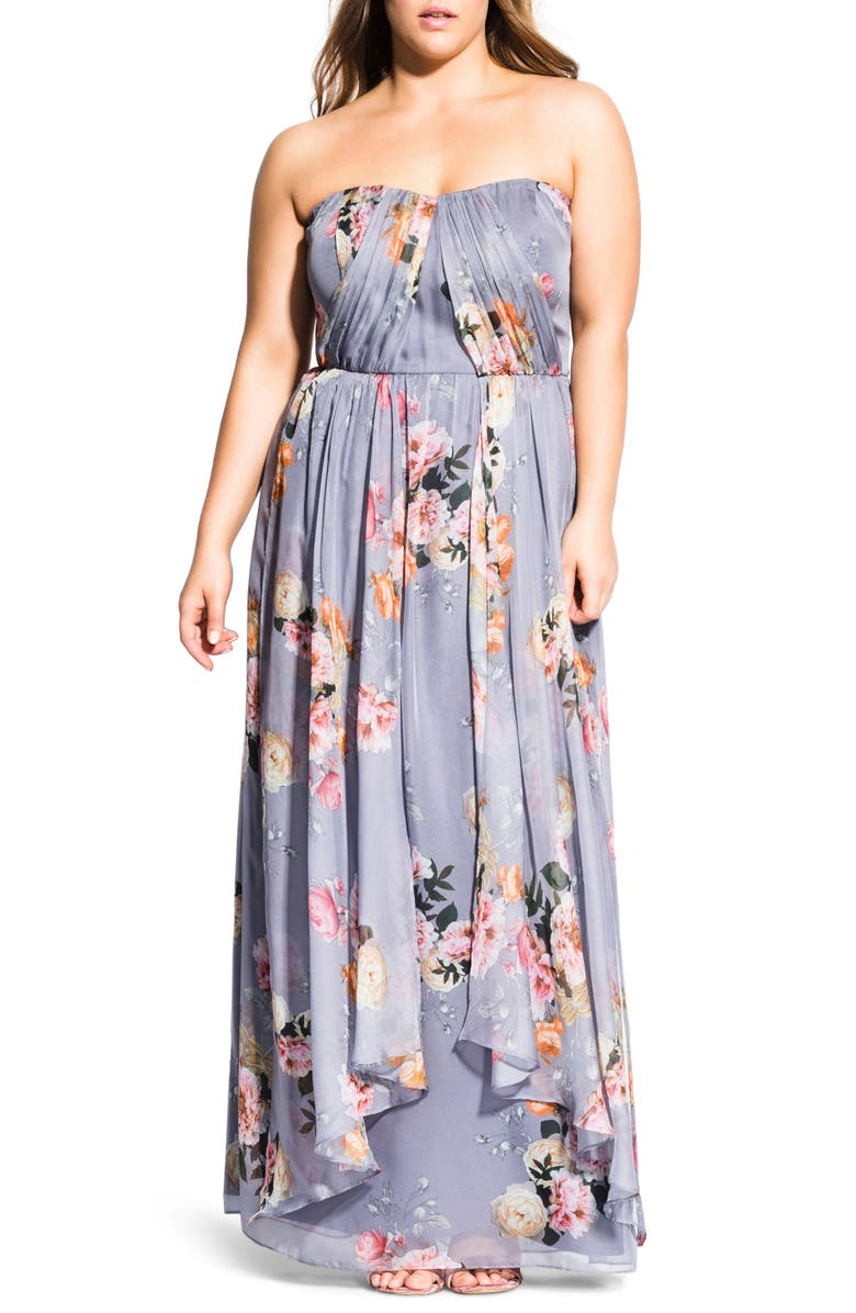 City Chic Dresses WHIMSY FLORENCE STRAPLESS MAXI DRESS