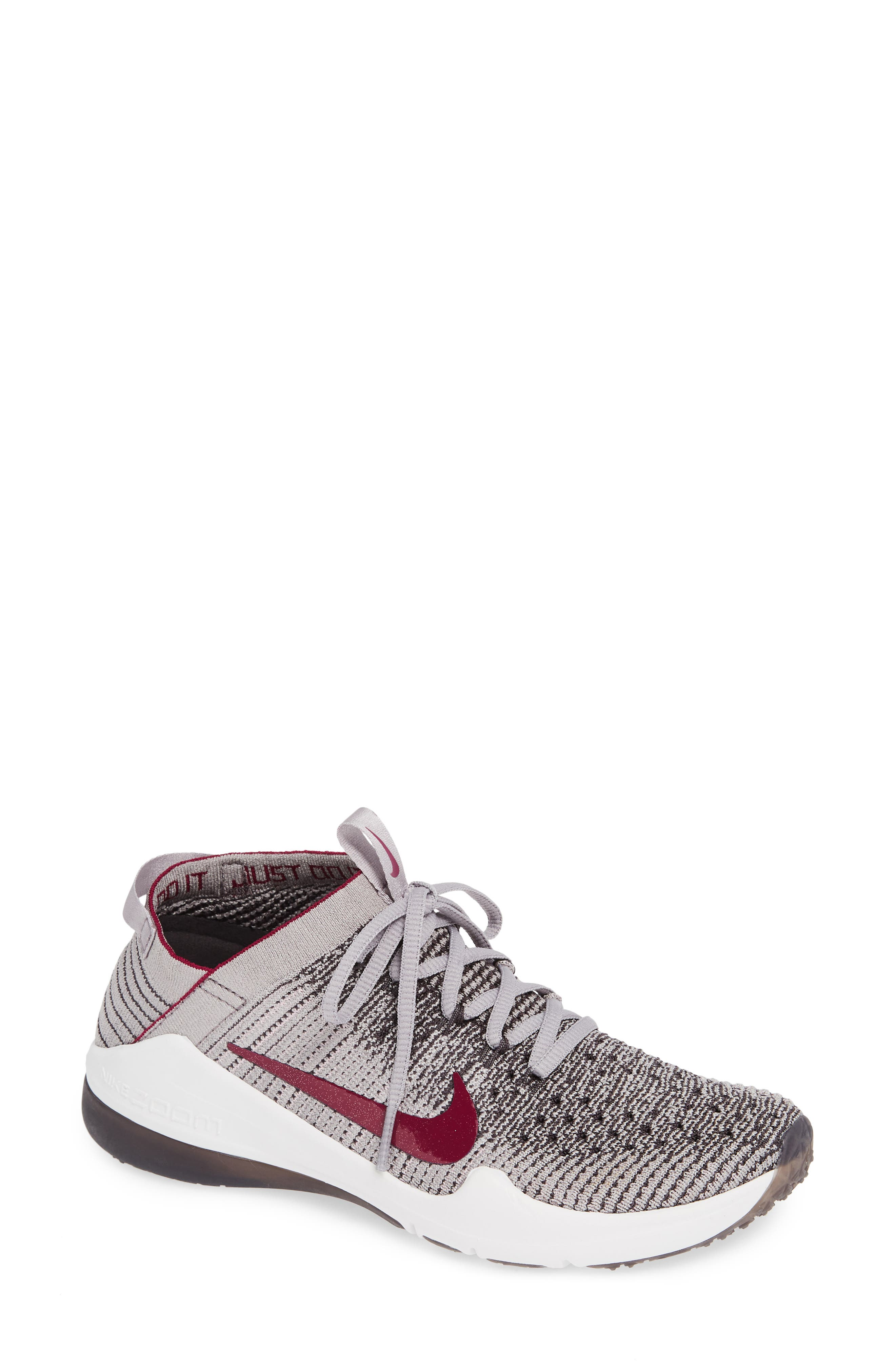 NIKE, Air Zoom Fearless Flyknit 2 Training Sneaker, Main thumbnail 1, color, GREY/ TRUE BERRY/ PLUM CHALK