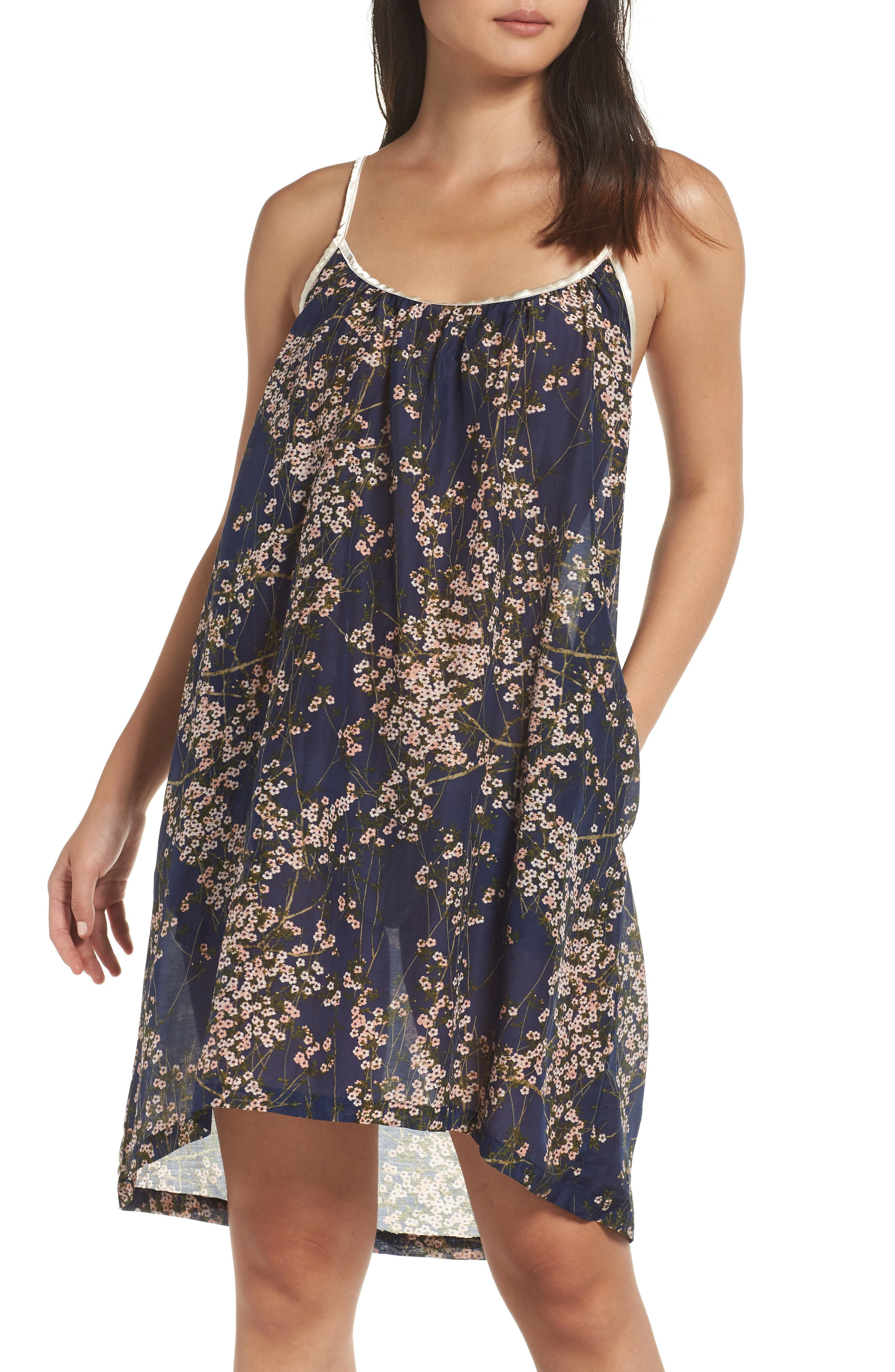 PAPINELLE Cherry Blossom Cotton & Silk Nightgown, Main, color, 410