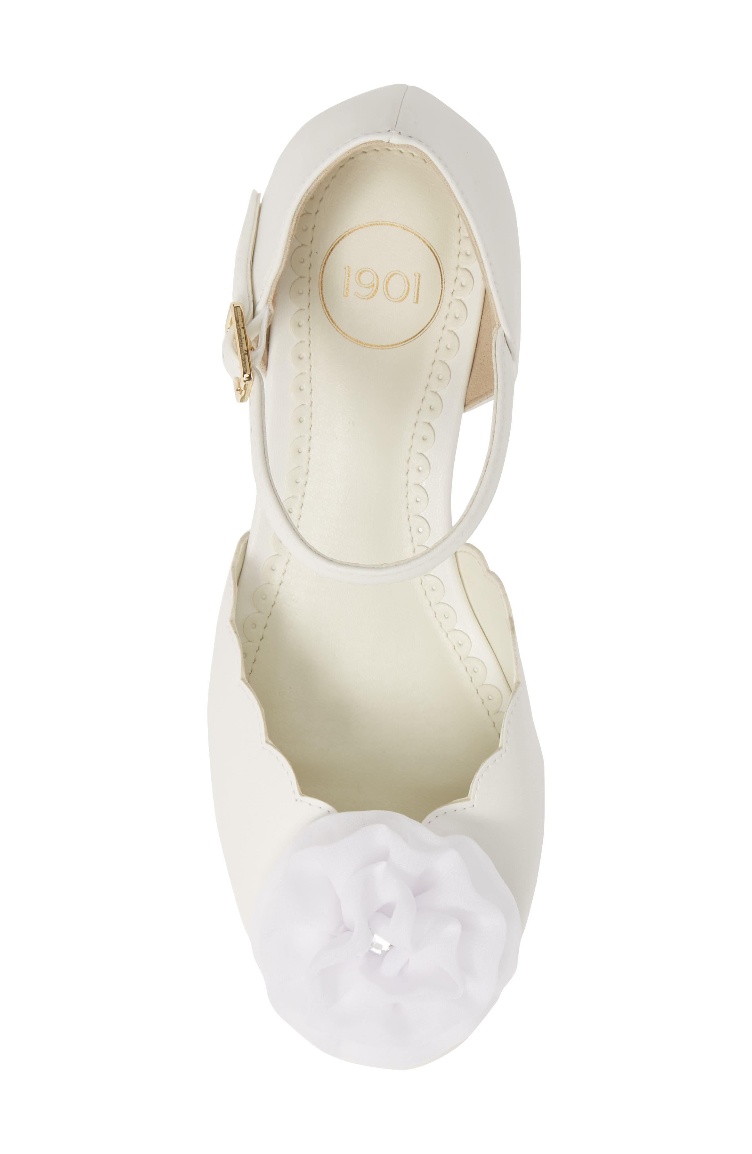 1901, Low Wedge Pump, Alternate thumbnail 5, color, WHITE FAUX LEATHER