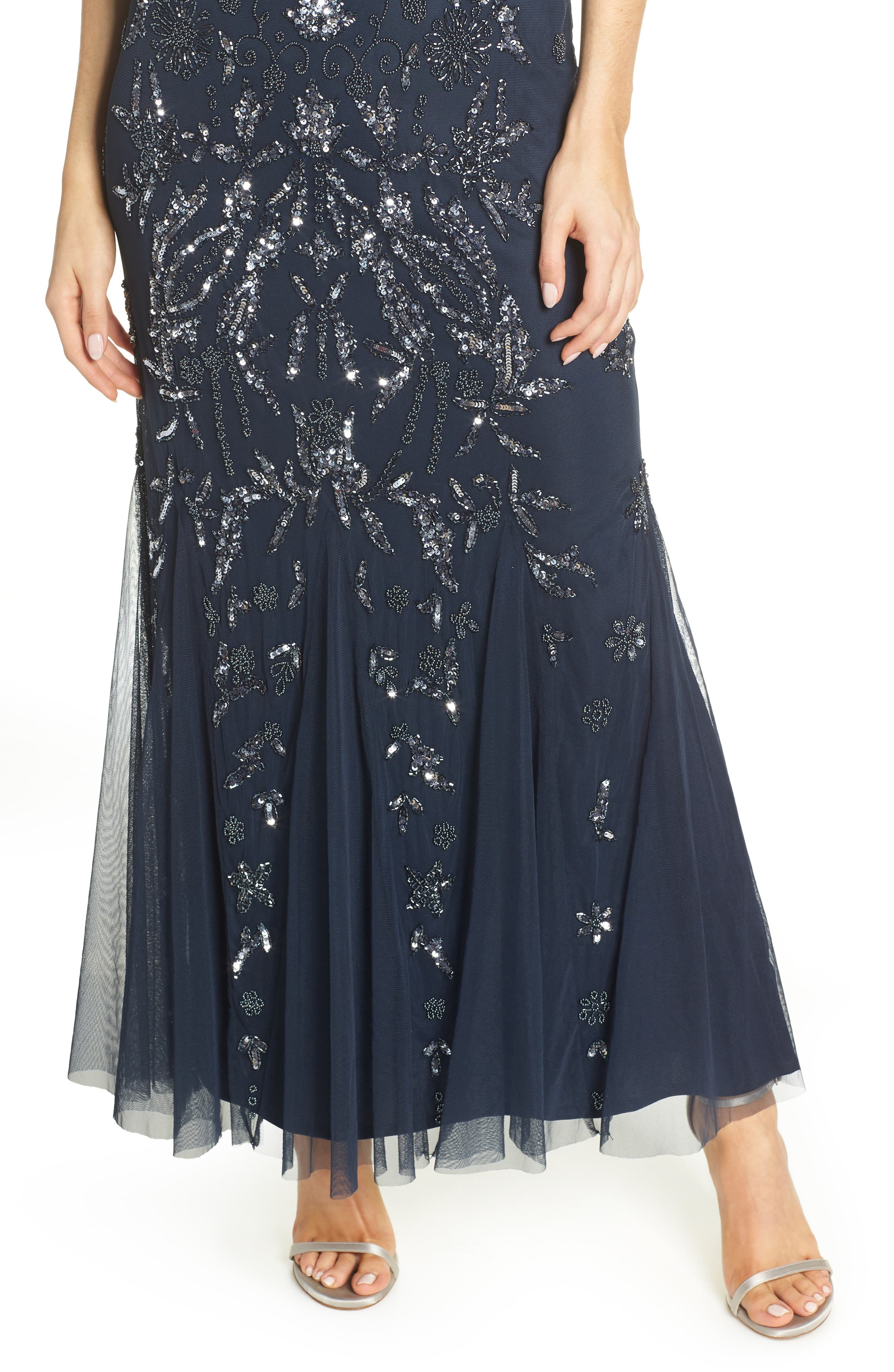 PISARRO NIGHTS, Embellished Mesh Gown, Alternate thumbnail 5, color, NAVY