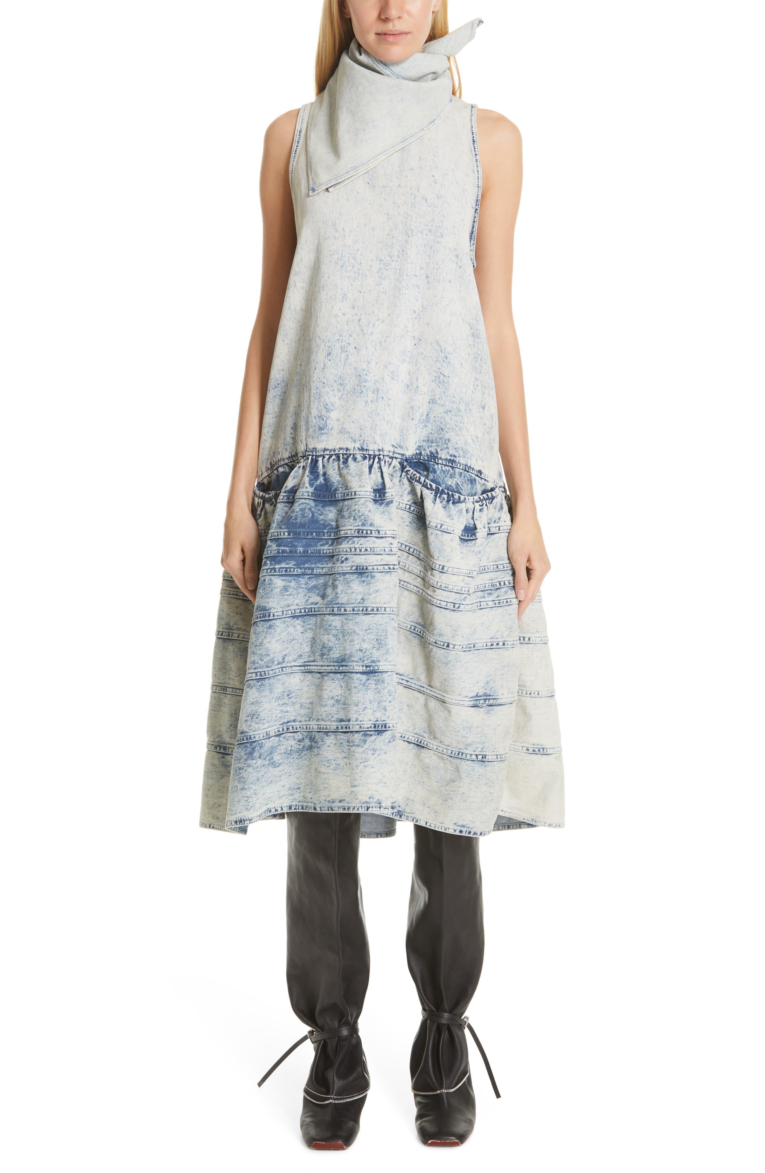 Proenza Schouler Acid Wash Denim Drop Waist Dress, Grey