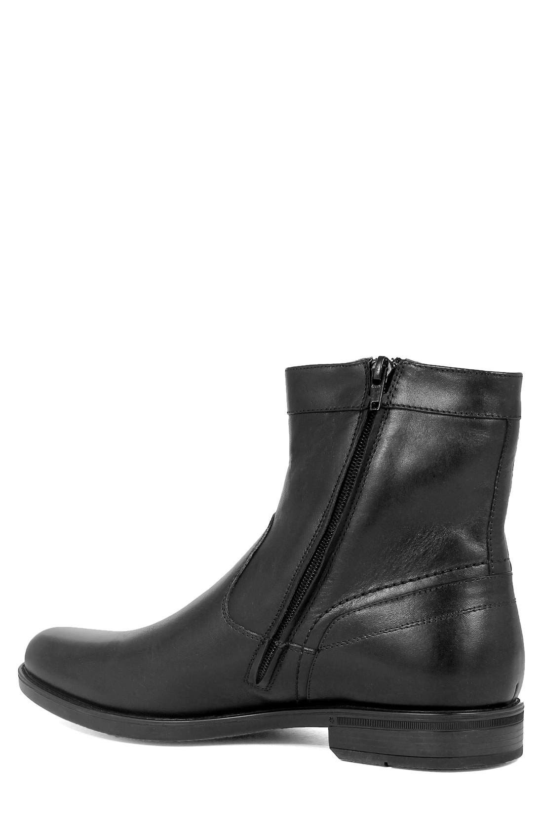 FLORSHEIM, 'Midtown' Zip Boot, Alternate thumbnail 2, color, BLACK LEATHER