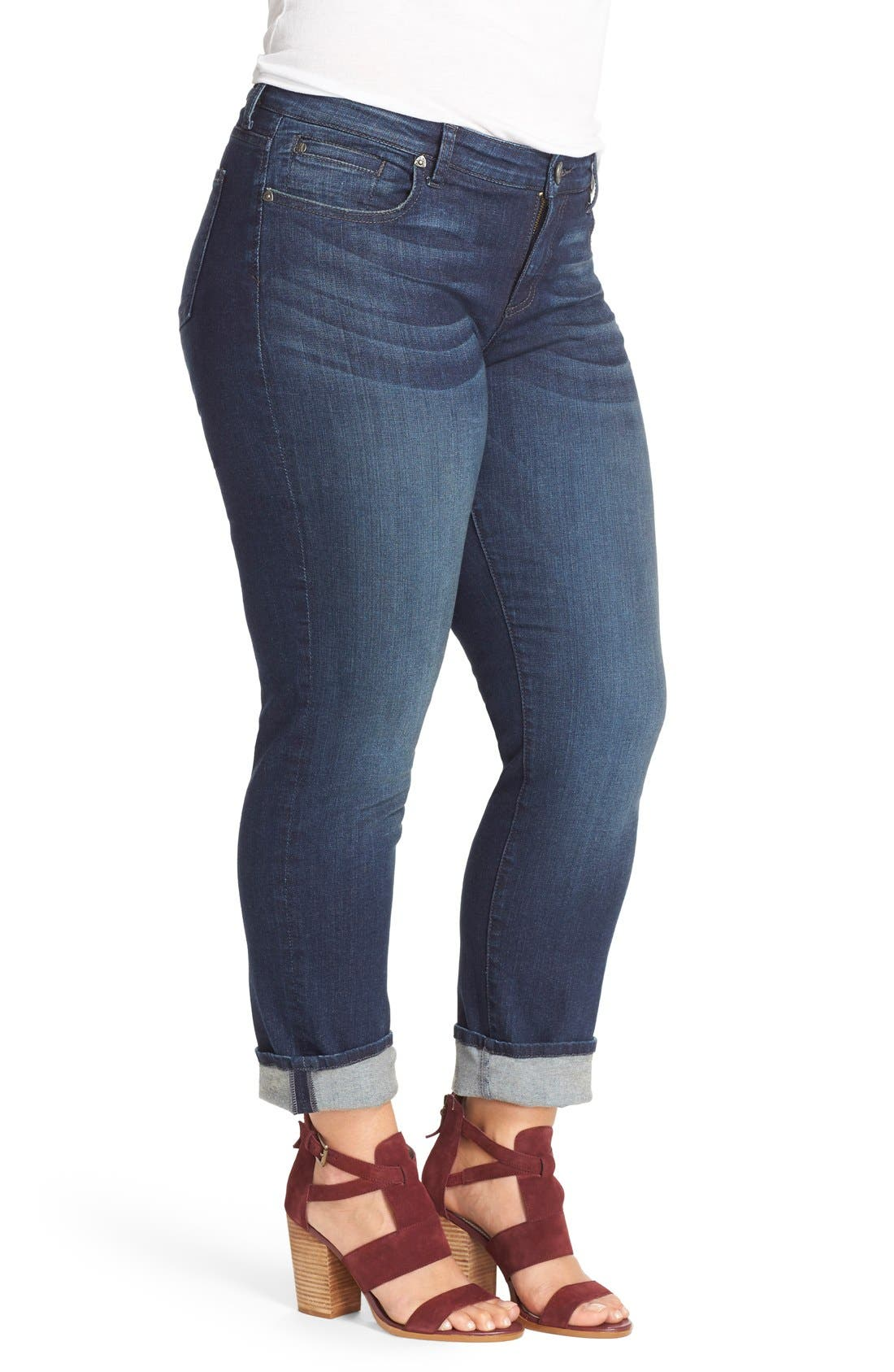 KUT FROM THE KLOTH, 'Catherine' Stretch Boyfriend Jeans, Alternate thumbnail 6, color, CAREFULNESS