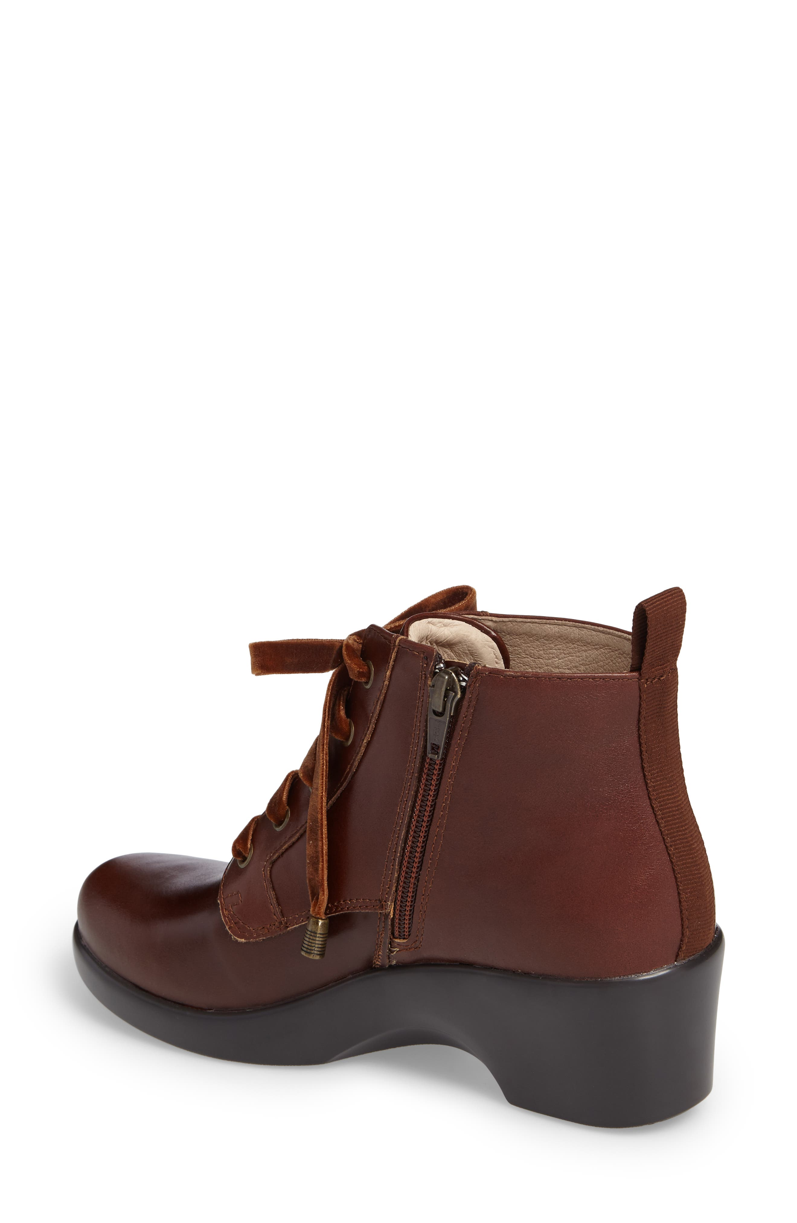 ALEGRIA, Eliza Water Resistant Bootie, Alternate thumbnail 2, color, CHESTNUT LUSTER LEATHER