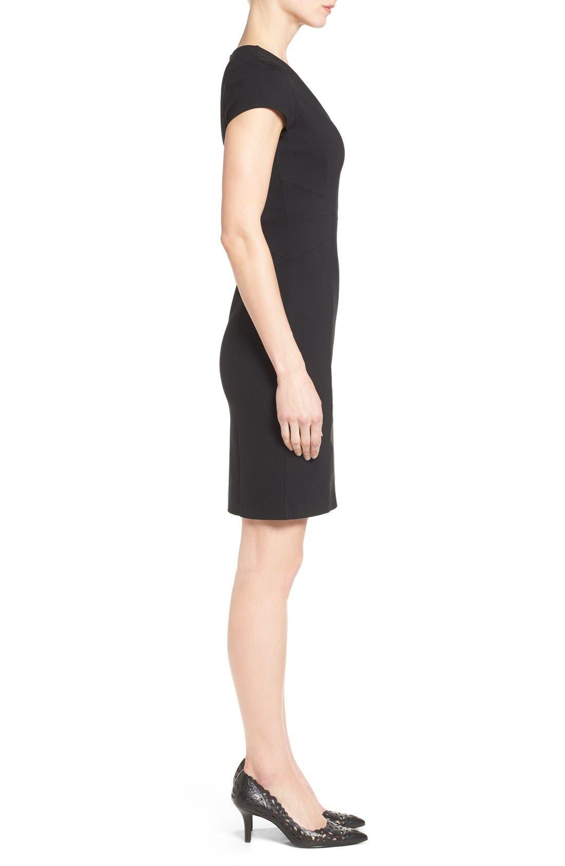 HALOGEN<SUP>®</SUP>, Seamed V-Neck Ponte Sheath Dress, Alternate thumbnail 4, color, 001