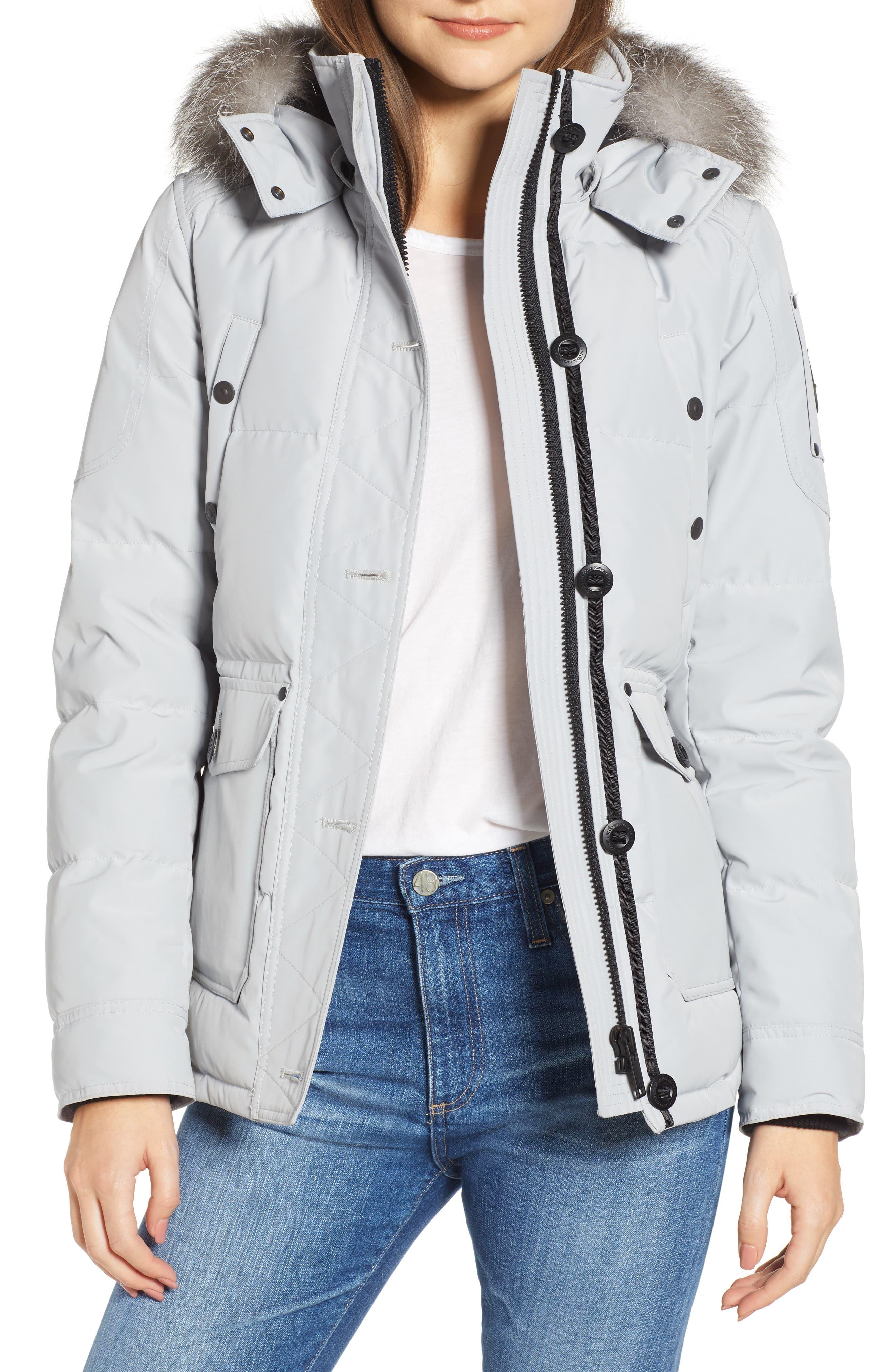 MOOSE KNUCKLES Debaies Genuine Fox Fur Trim Down Jacket, Main, color, GRAY BIRCH/ FROST FOX
