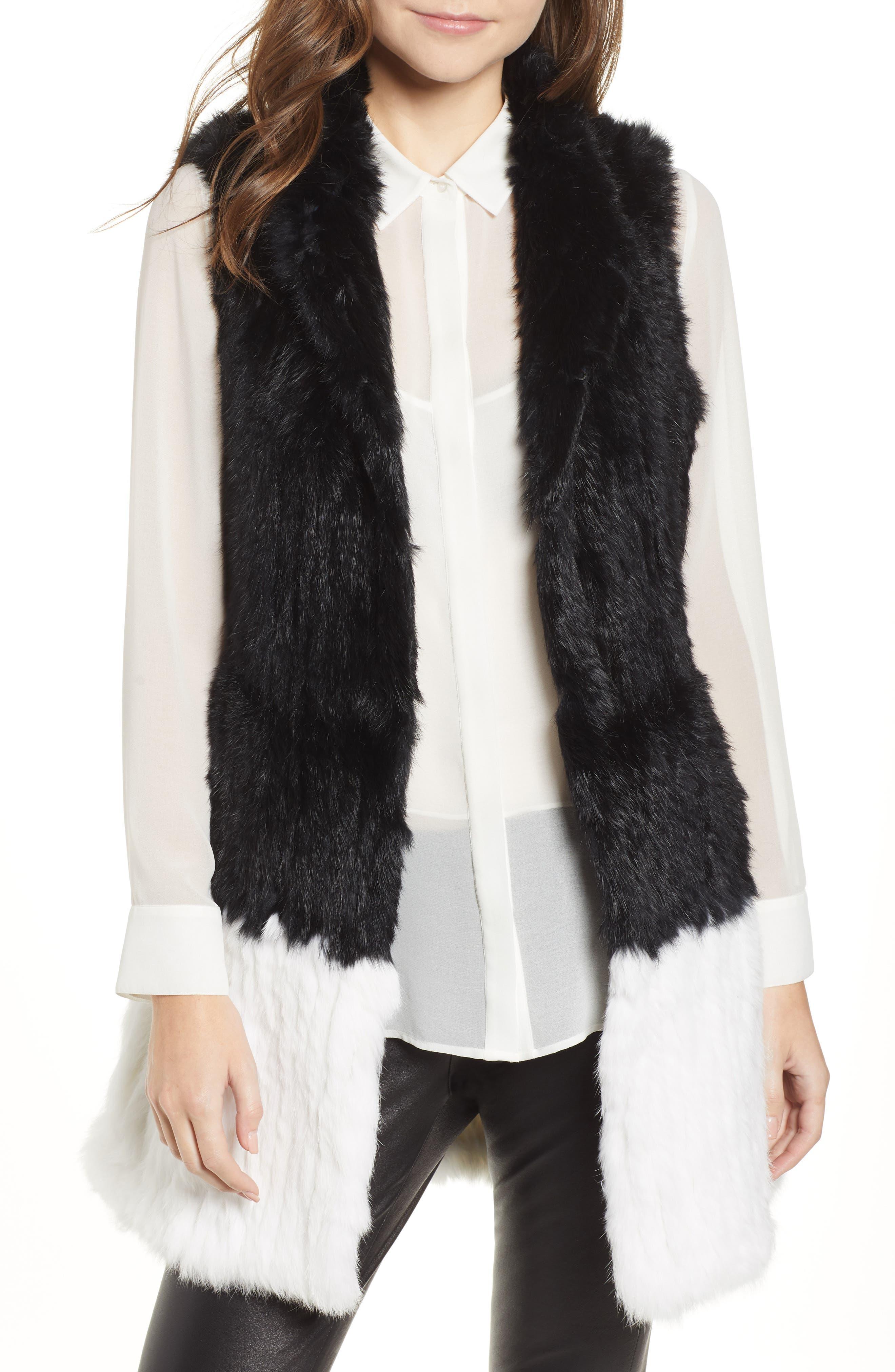 LOVE TOKEN, Long Colorblock Genuine Rabbit Fur Vest, Main thumbnail 1, color, 001