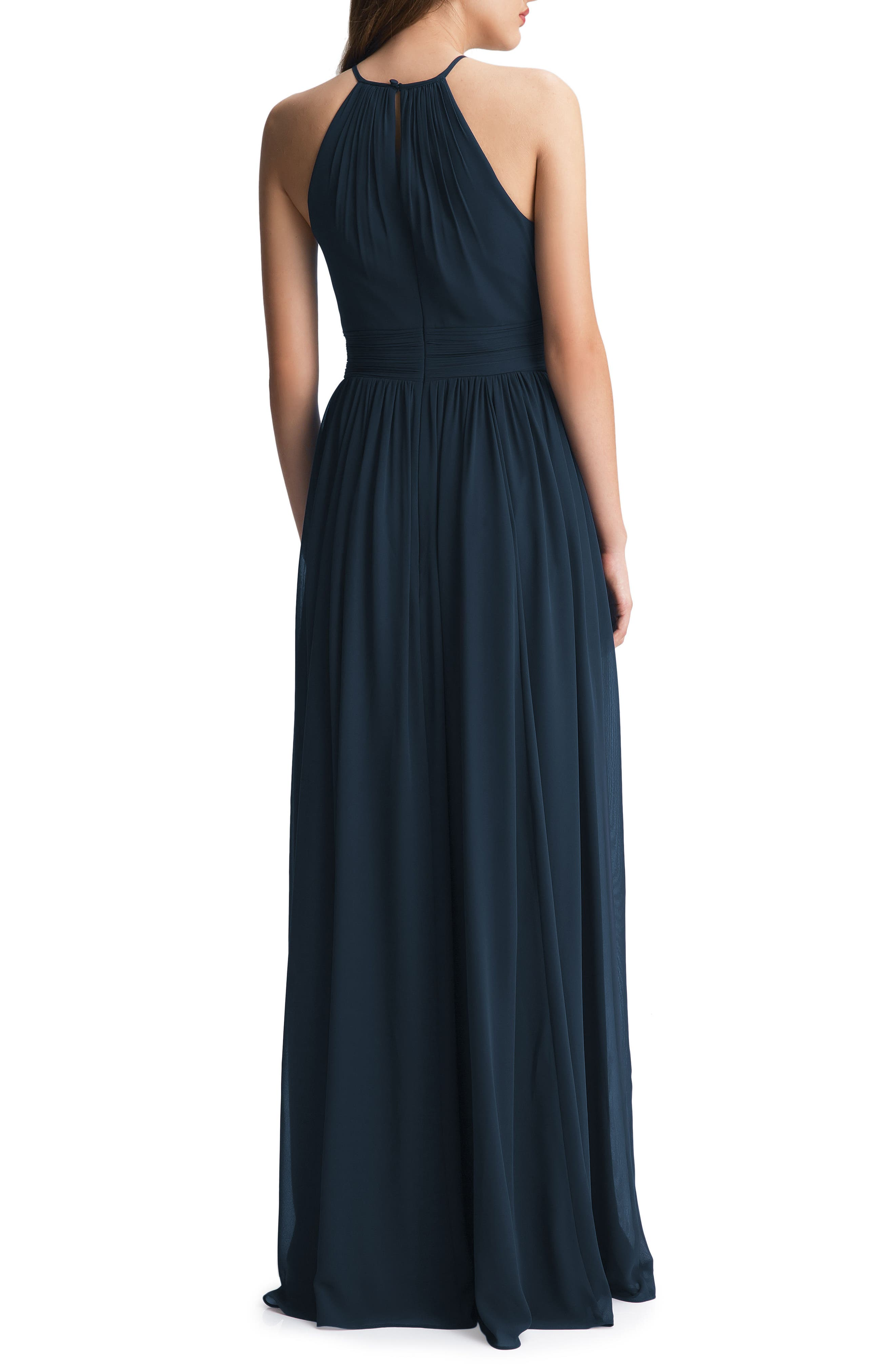#LEVKOFF, Keyhole Chiffon A-Line Gown, Alternate thumbnail 2, color, NAVY