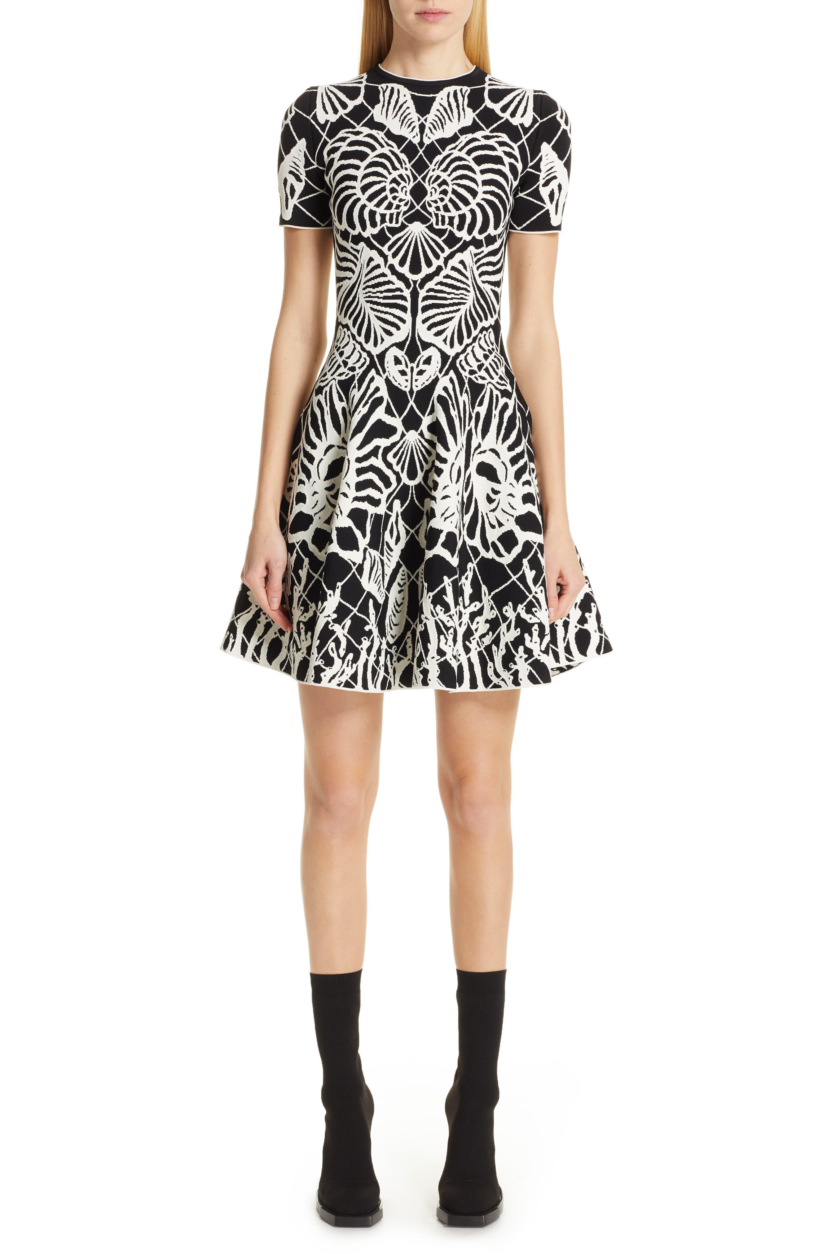 Alexander Mcqueen Wave Jacquard Minidress, Black