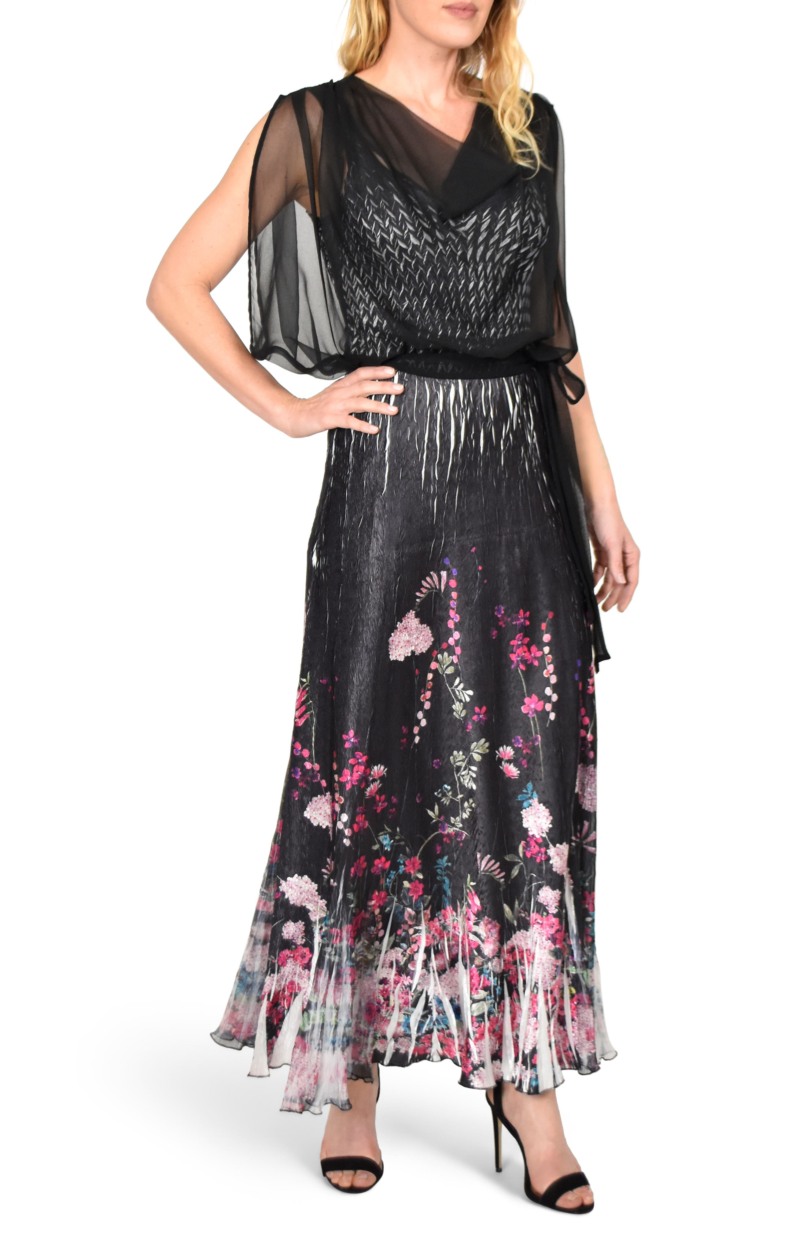 KOMAROV Chiffon Popover Charmeuse Gown, Main, color, MAGENTA MEDLEY