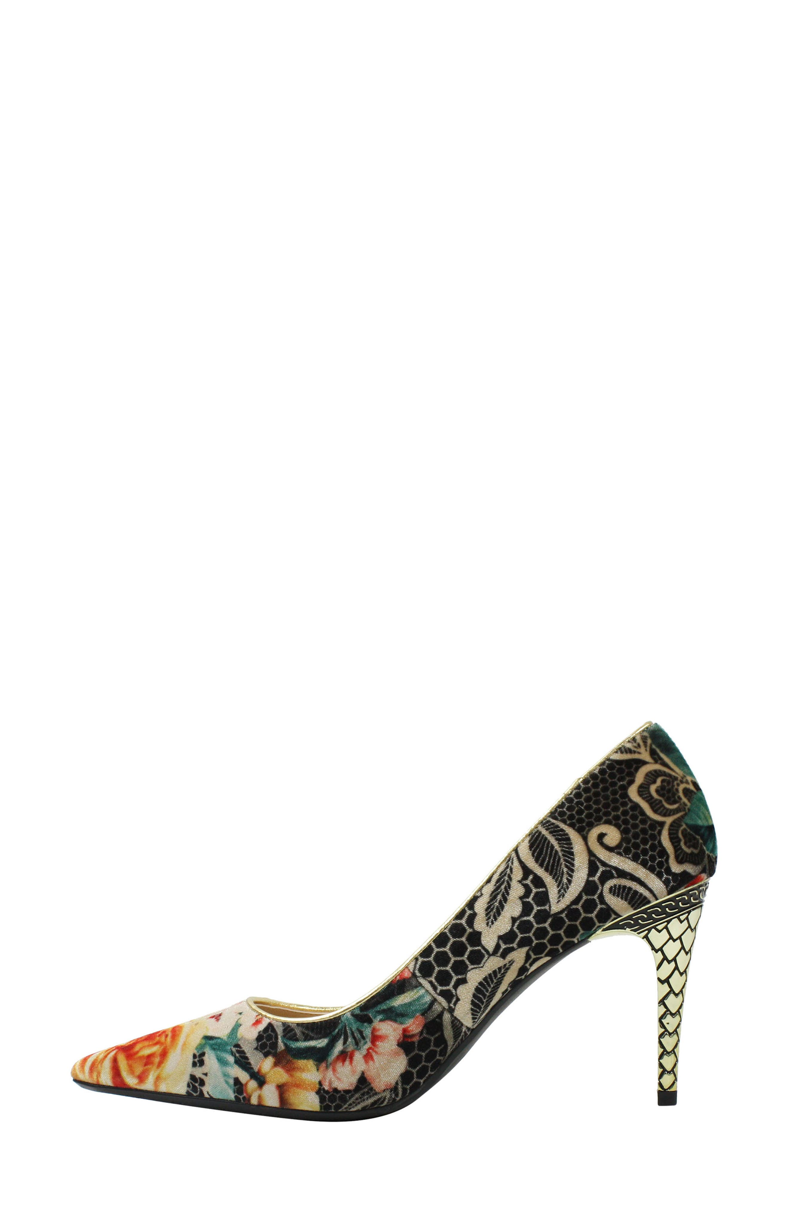 J. RENEÉ, 'Maressa' Pointy Toe Pump, Alternate thumbnail 7, color, BLACK/ TAUPE/ CORAL/ GOLD