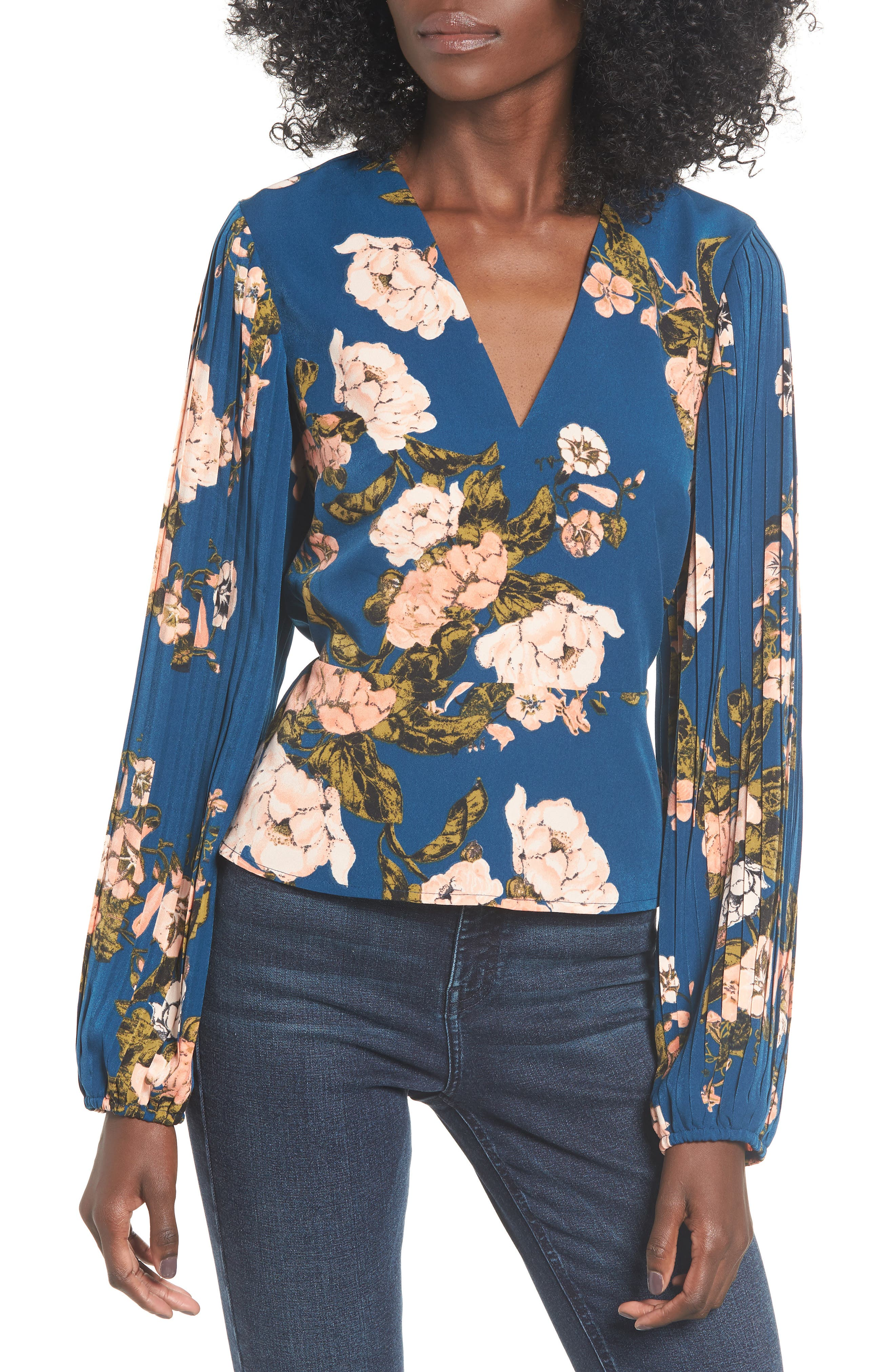 LEITH, Pleated Sleeve Blouse, Main thumbnail 1, color, BLUE AURORA TONAL FLORAL