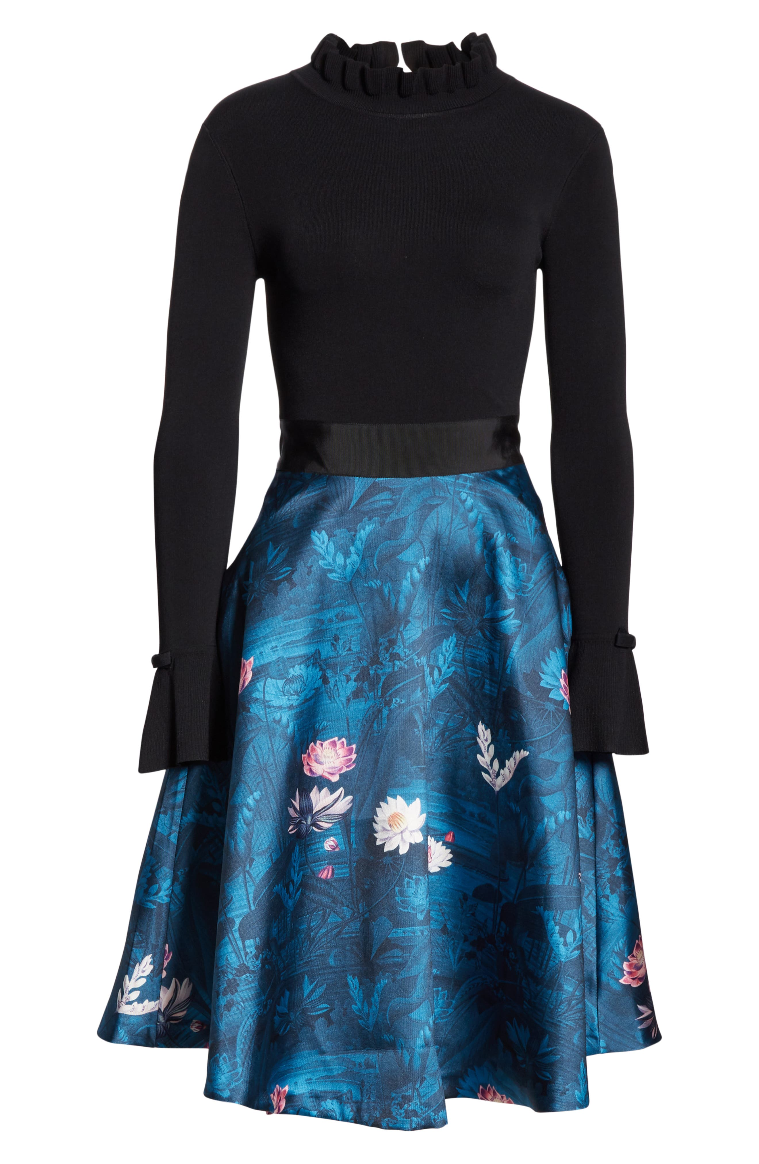 TED BAKER LONDON, Kalinaa Wonderland Fit & Flare Dress, Alternate thumbnail 7, color, 001