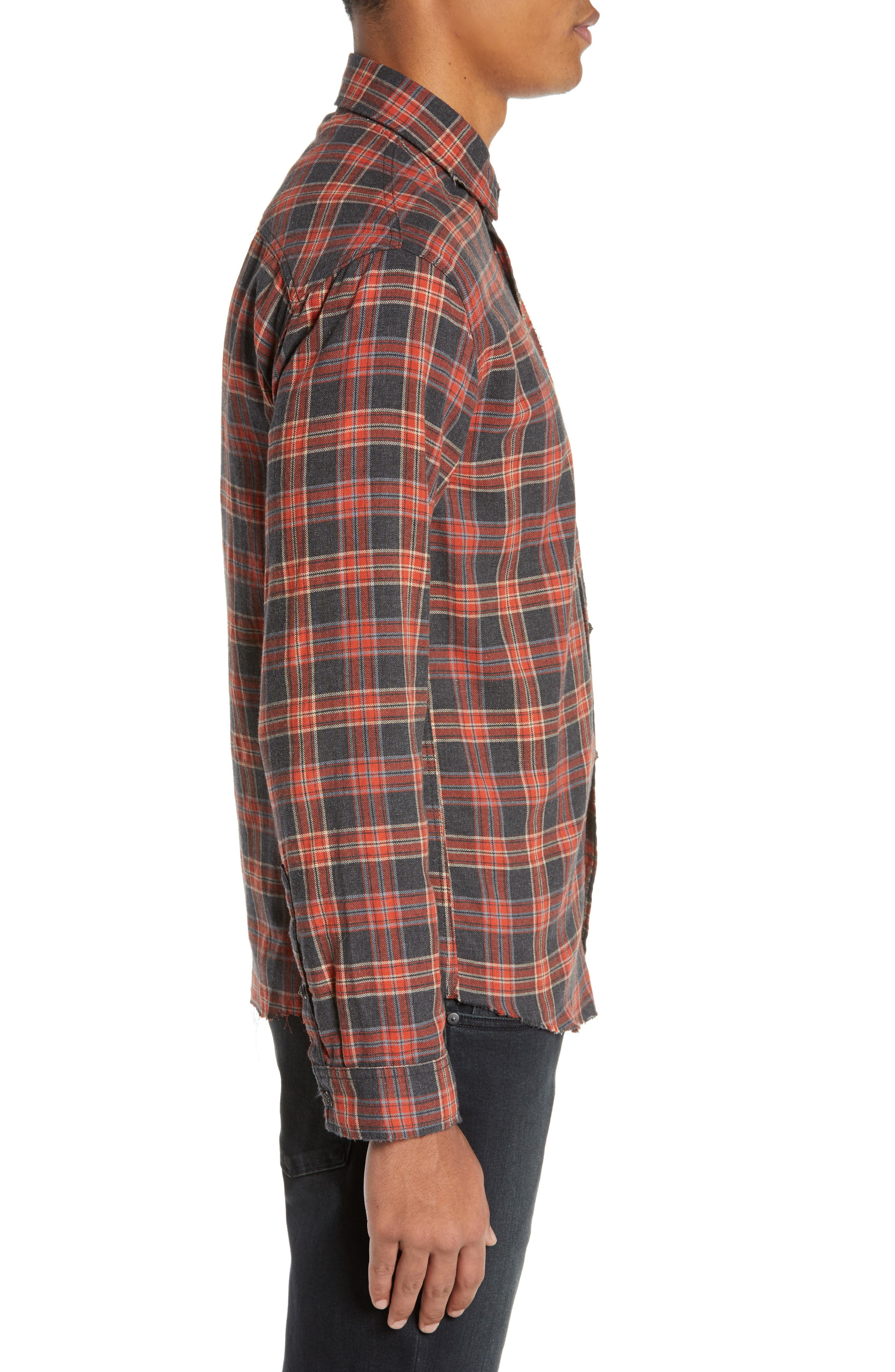 THE KOOPLES, Plaid Regular Fit Flannel Shirt, Alternate thumbnail 4, color, 800
