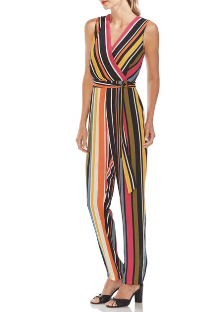 Vince Camuto Suits STRIPE BELTED JUMPSUIT