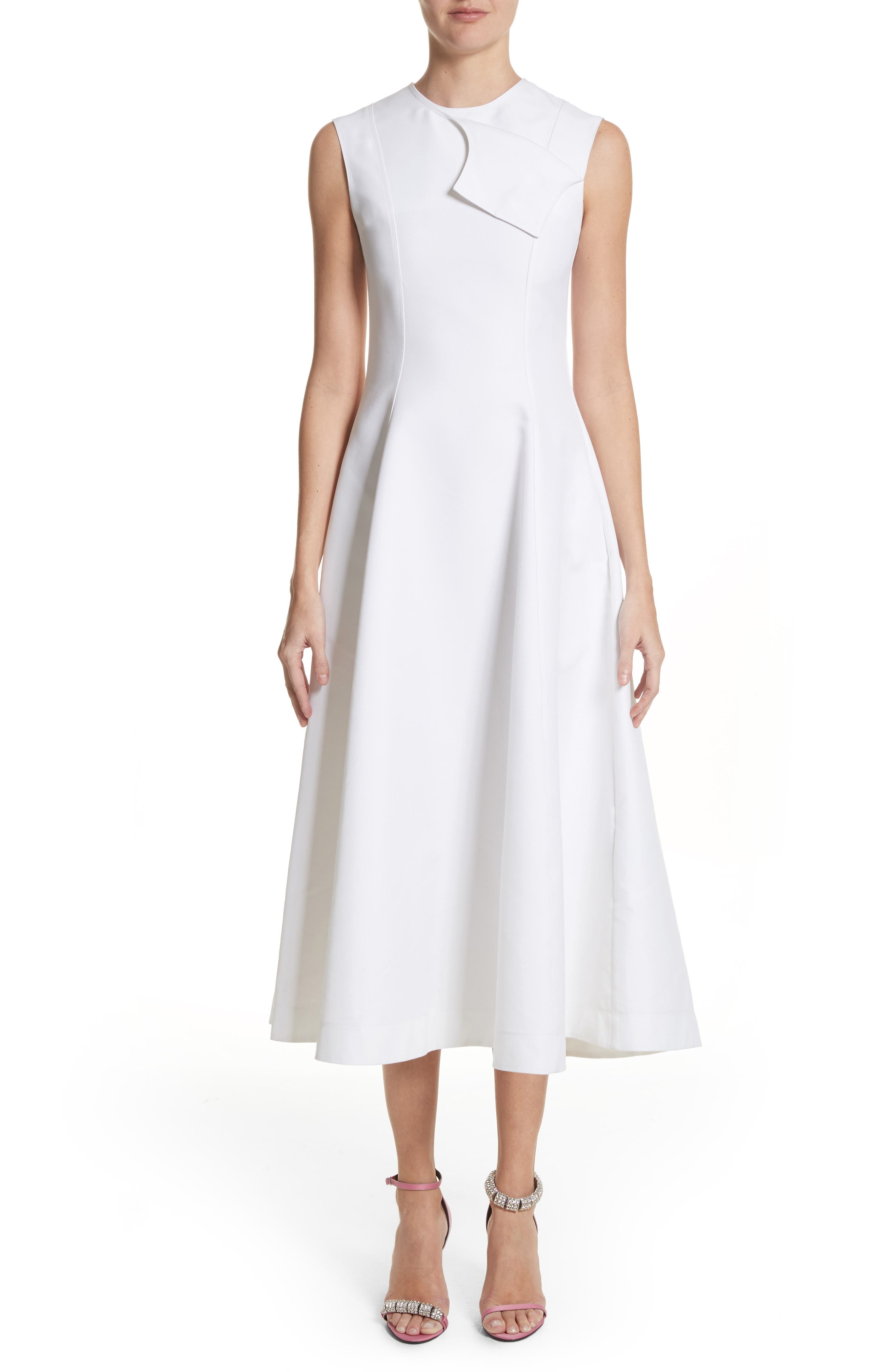 CALVIN KLEIN 205W39NYC, Flap Detail A-Line Dress, Main thumbnail 1, color, OPTIC WHITE