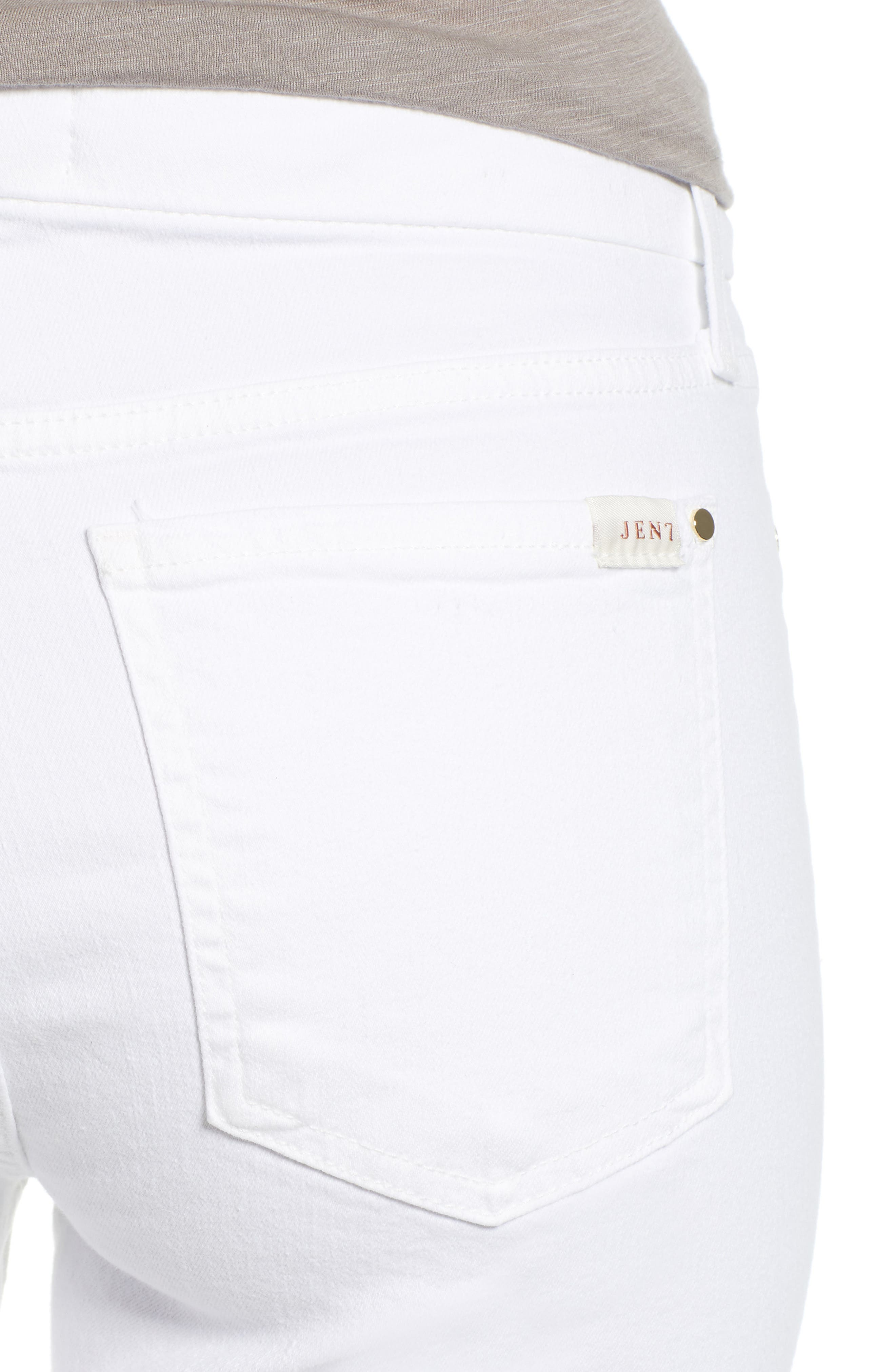 JEN7 BY 7 FOR ALL MANKIND, Slim Bootcut Jeans, Alternate thumbnail 5, color, WHITE