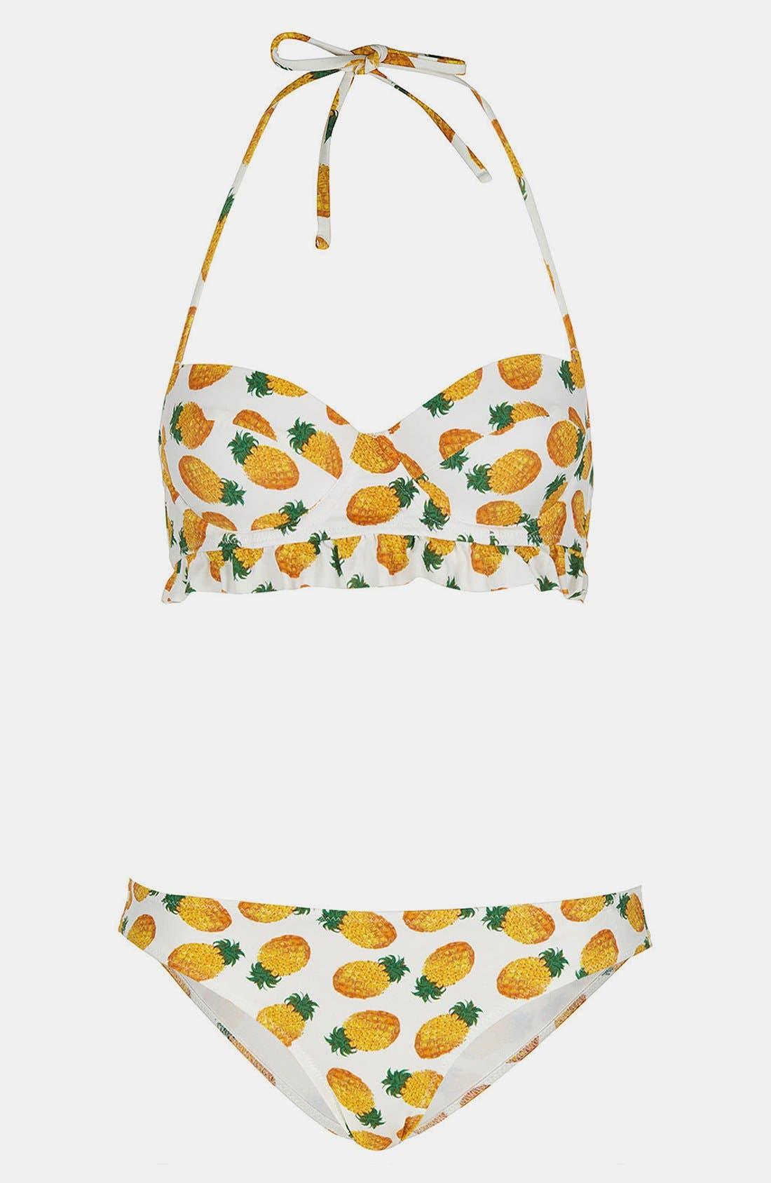 TOPSHOP, Pineapple Print Bikini, Main thumbnail 1, color, 100