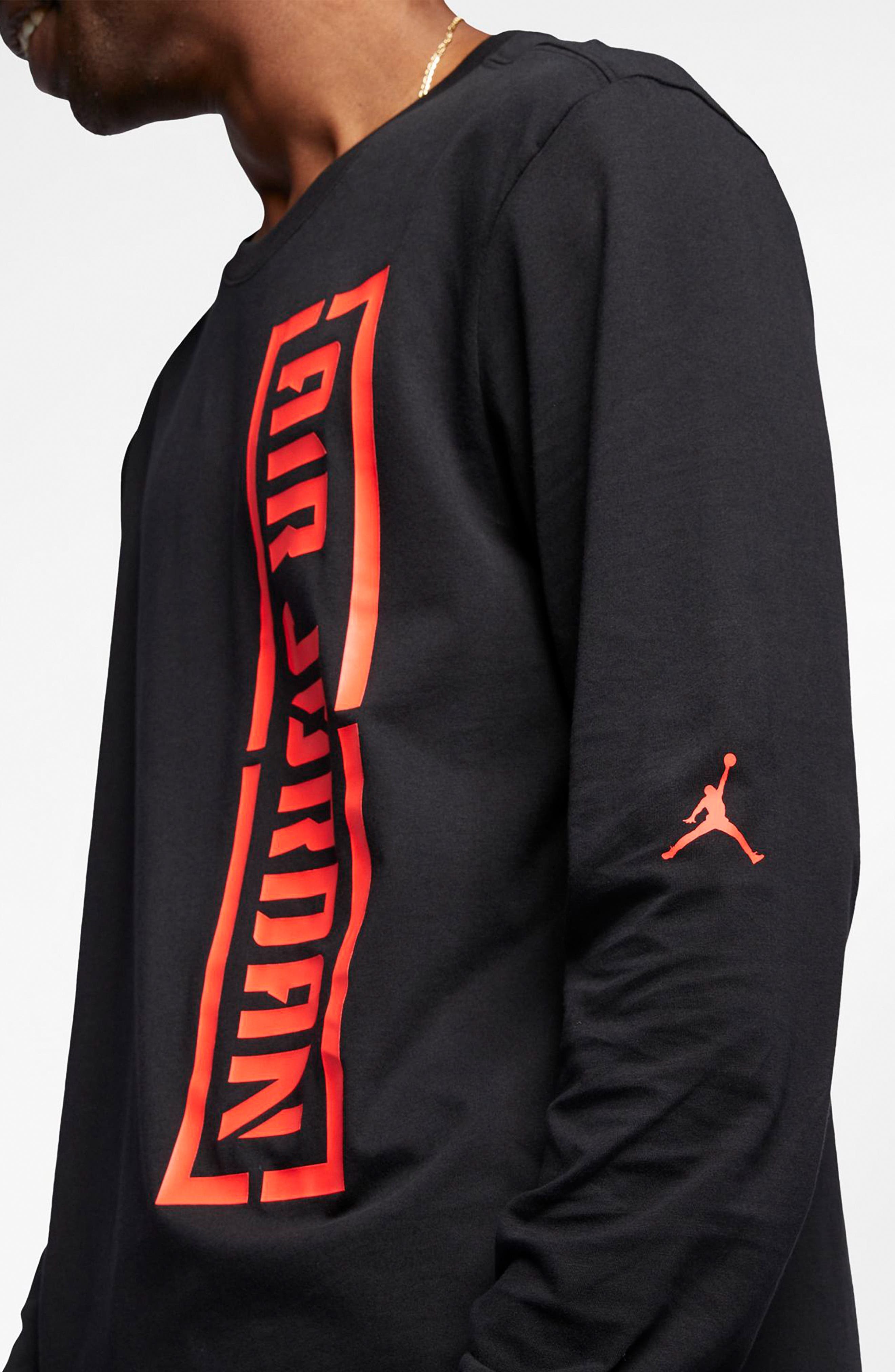 JORDAN, JSW Long Sleeve T-Shirt, Alternate thumbnail 5, color, BLACK/ INFRARED 23