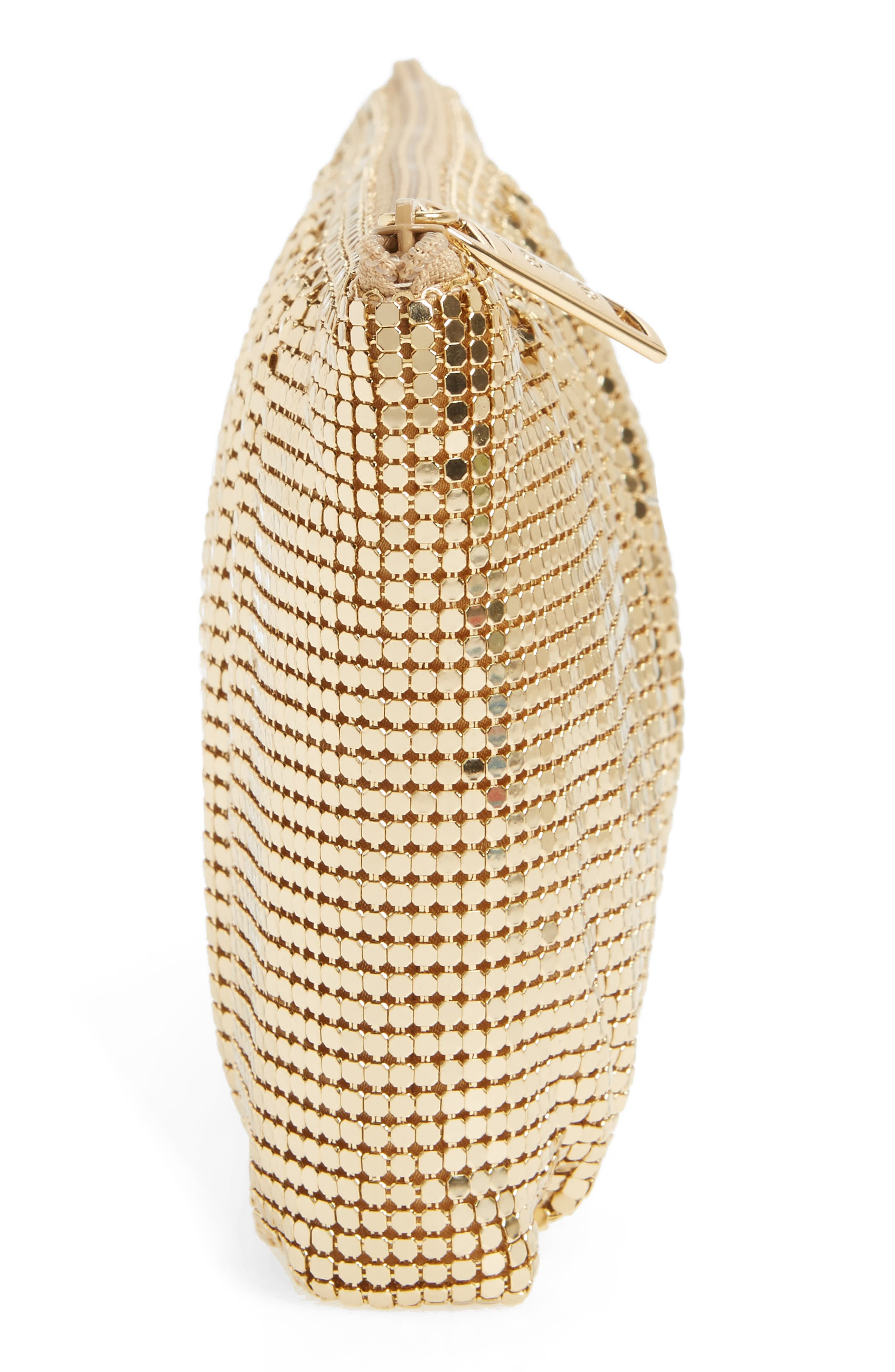 WHITING & DAVIS, Shirred Mesh Pouch Clutch, Alternate thumbnail 5, color, GOLD